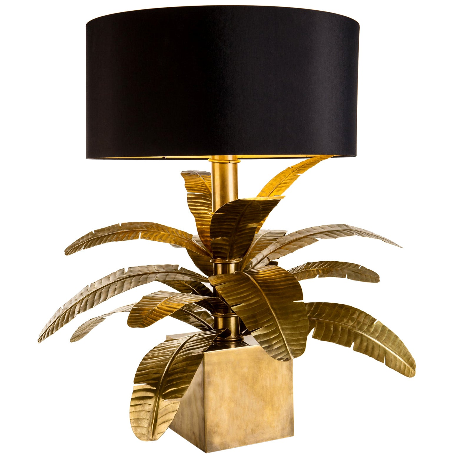 Contemporary italian made brass palm lamp with black fabric lampshade