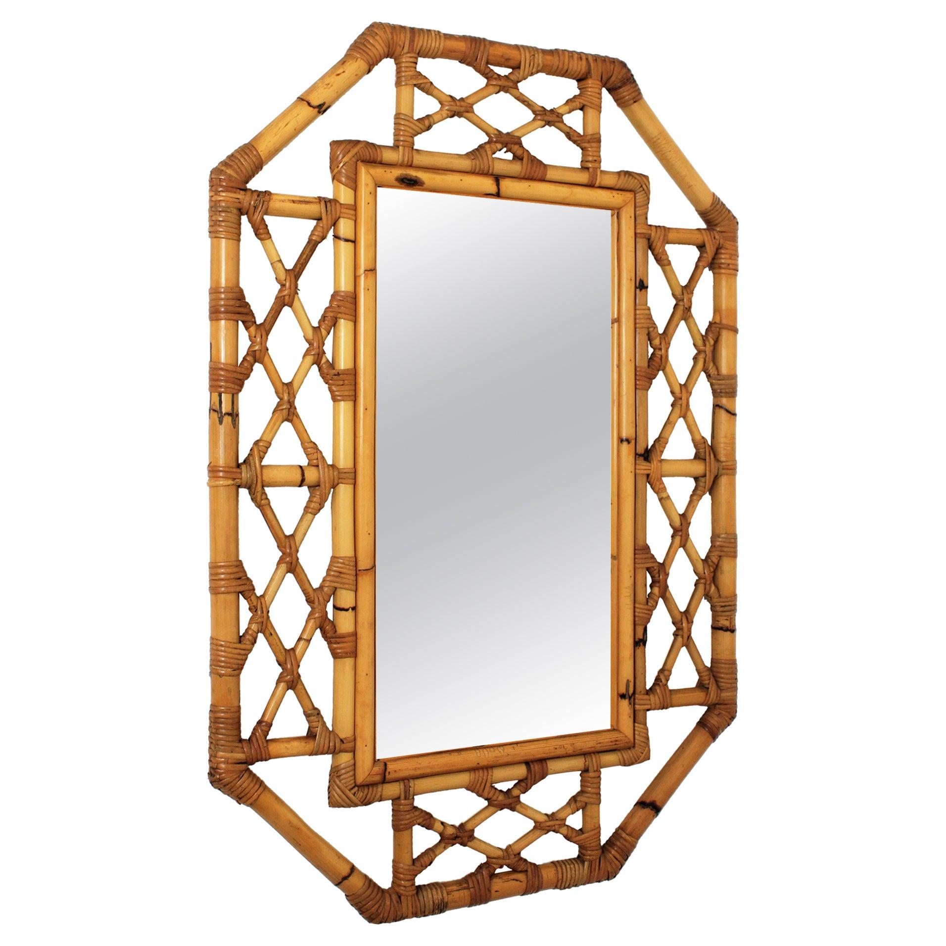 Mid-Century Modern Bamboo Mirror, Chinoiserie Tiki Style, Spain, 1960s