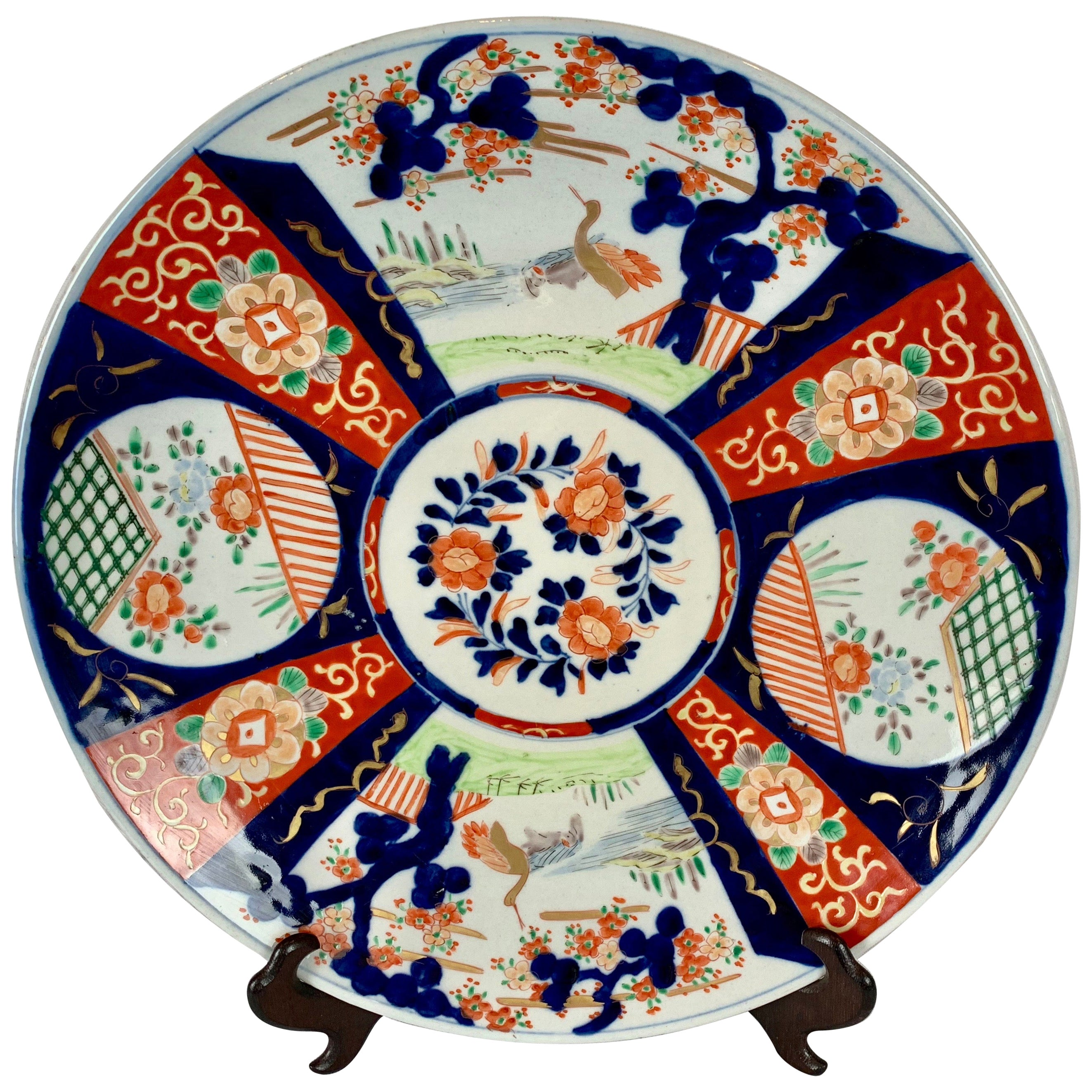 Japanese Large Imari Hand Decorated Porcelain Four Panel Charger- Large Meiji,
