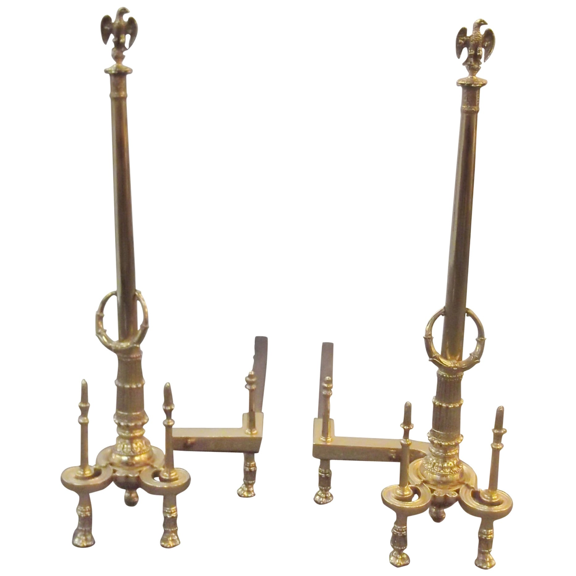 Pair of Louis XV Style Tall Andirons