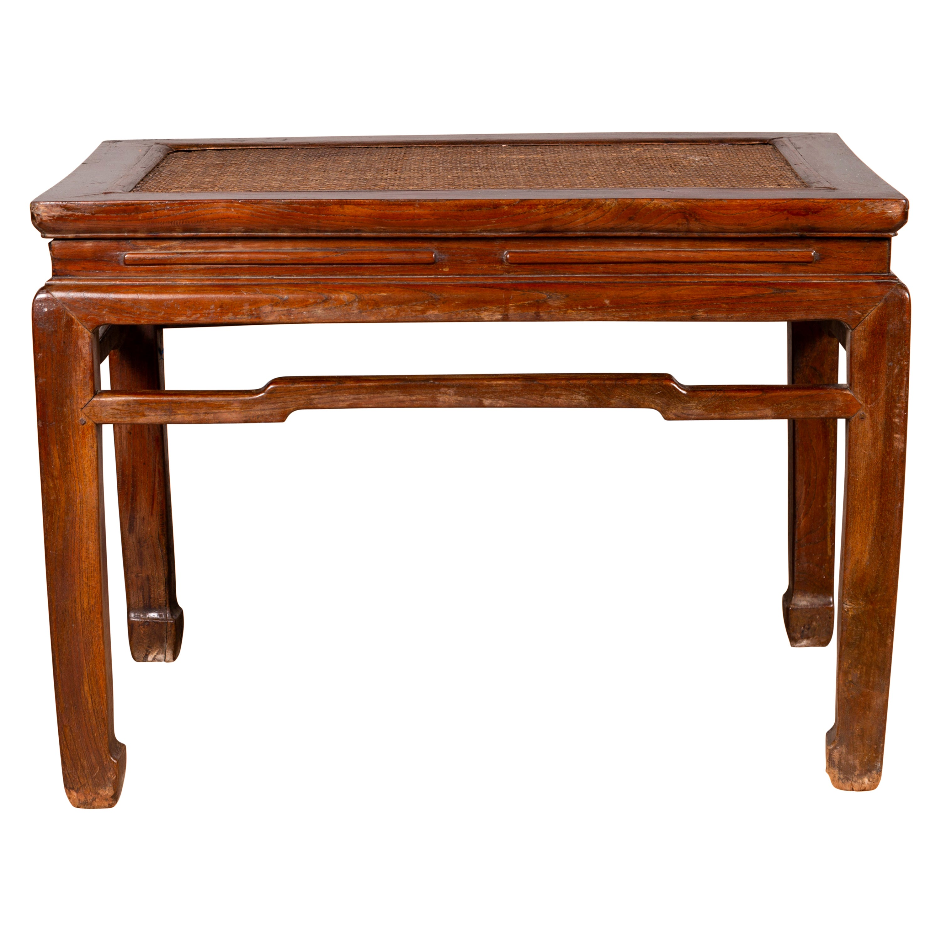 Antique Chinese Ming Dynasty Style Waisted Side Table with Woven Rattan Top