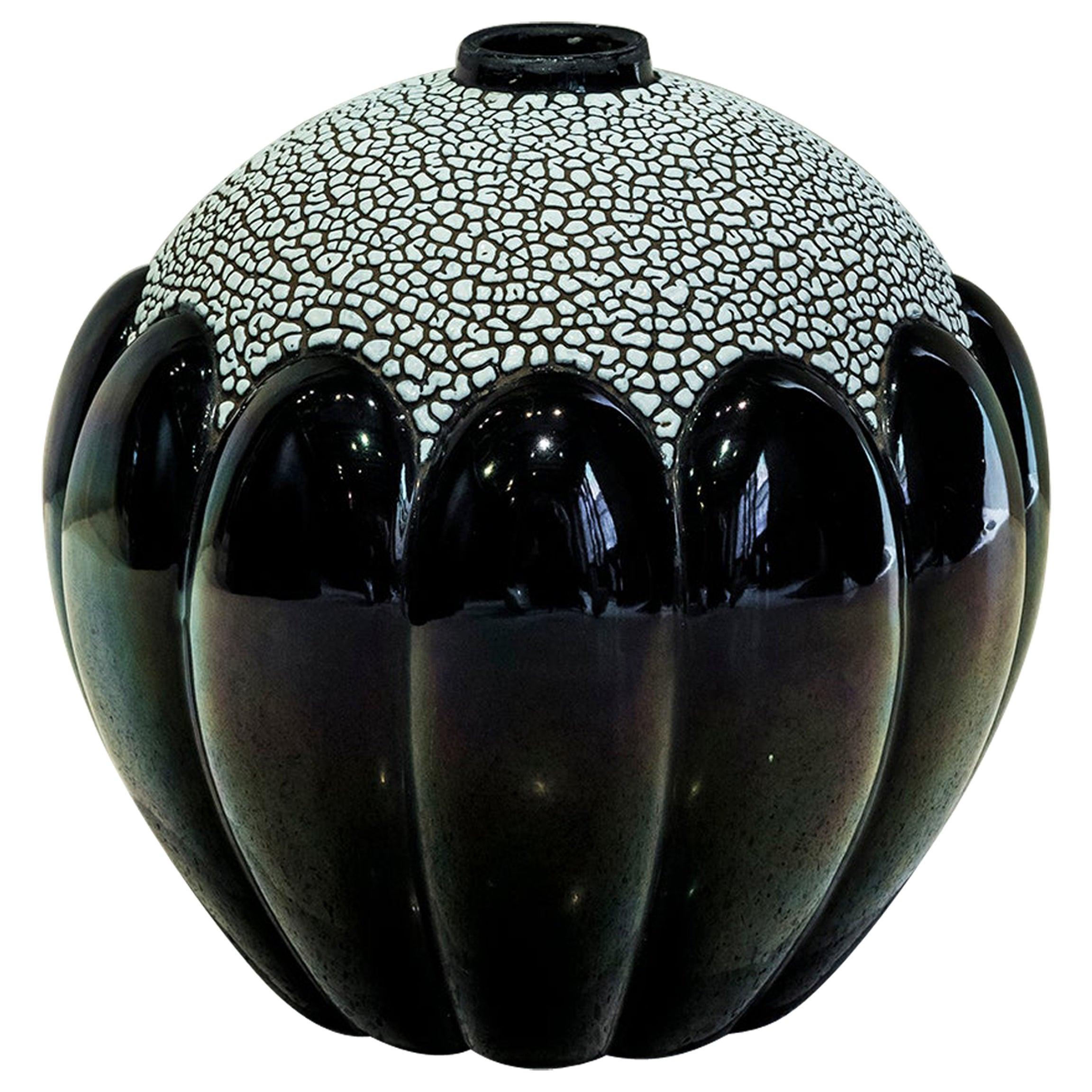 Enamel Ceramic Flower Vase Signed Saint Clement, France, circa 1930