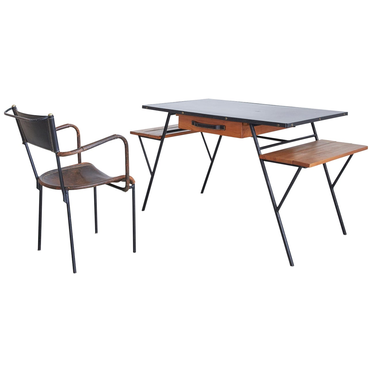 Jacques Adnet Desk and Chair