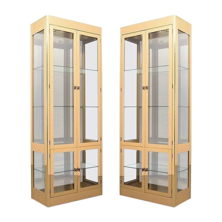 Pair of Mastercraft Brass Display Cabinets