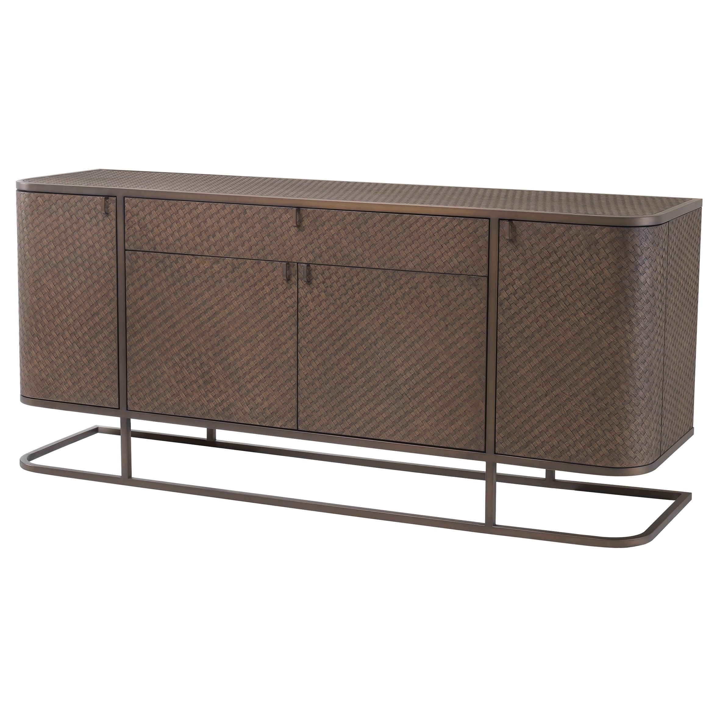 Oak Wooden and Brushed Brass Metal Design Sideboard