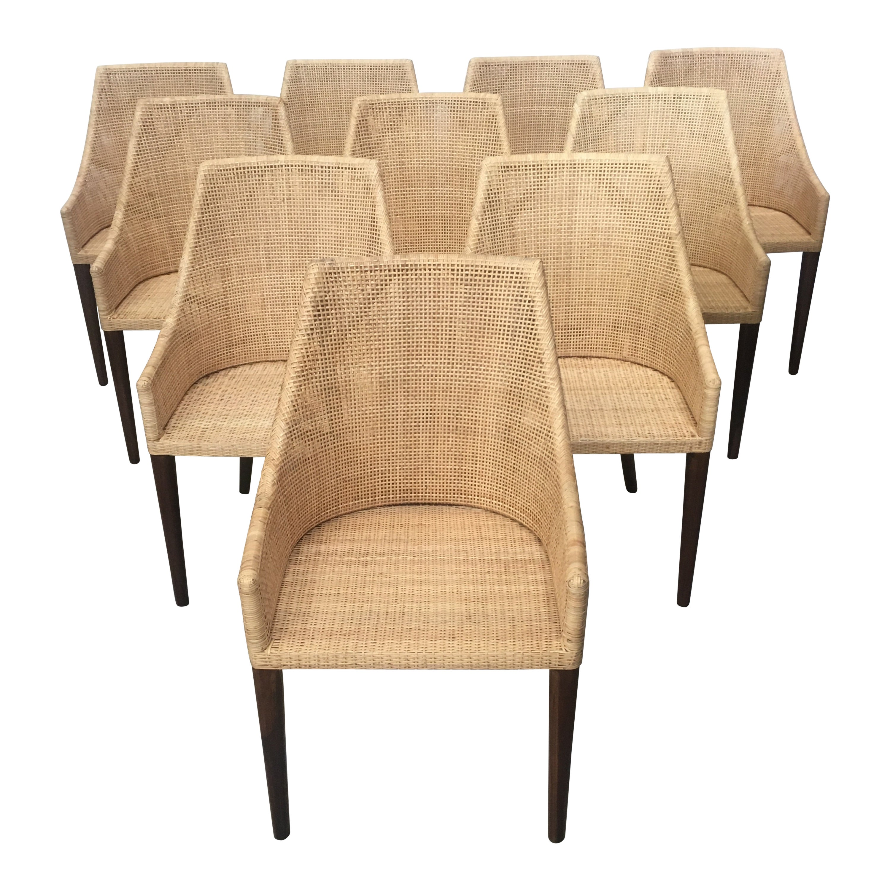 Rattan and Wooden Set of 10 Dining Armchairs French Design