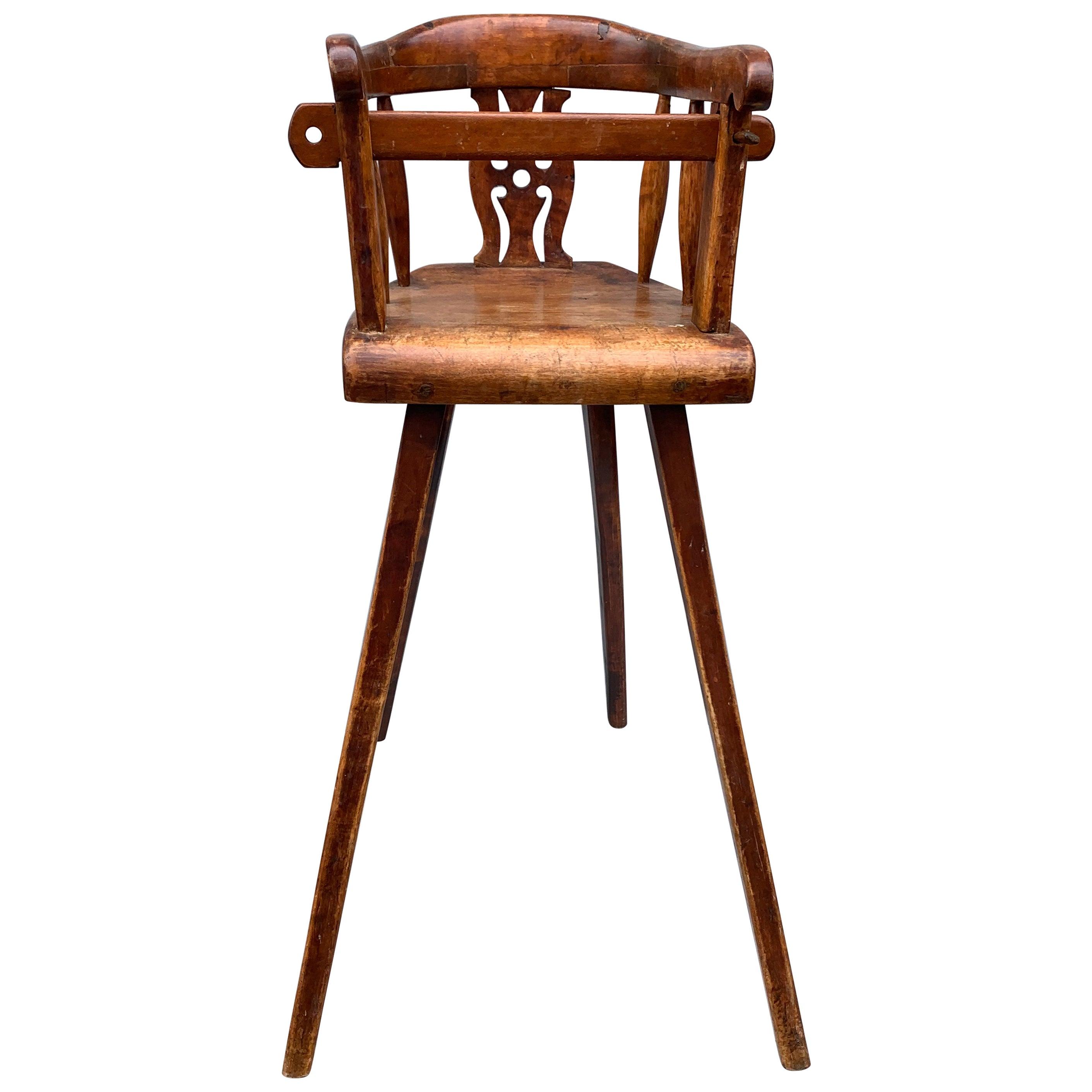 Swedish 19th Century Wooden Child's High Chair