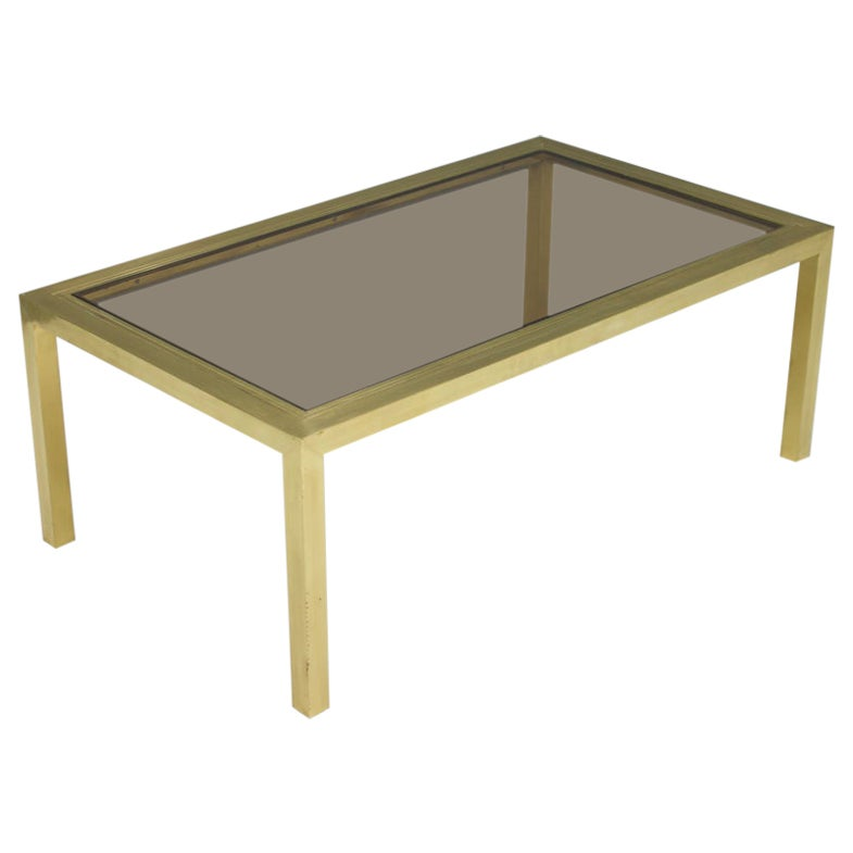 Brass Coffee Table with Glass 1960s