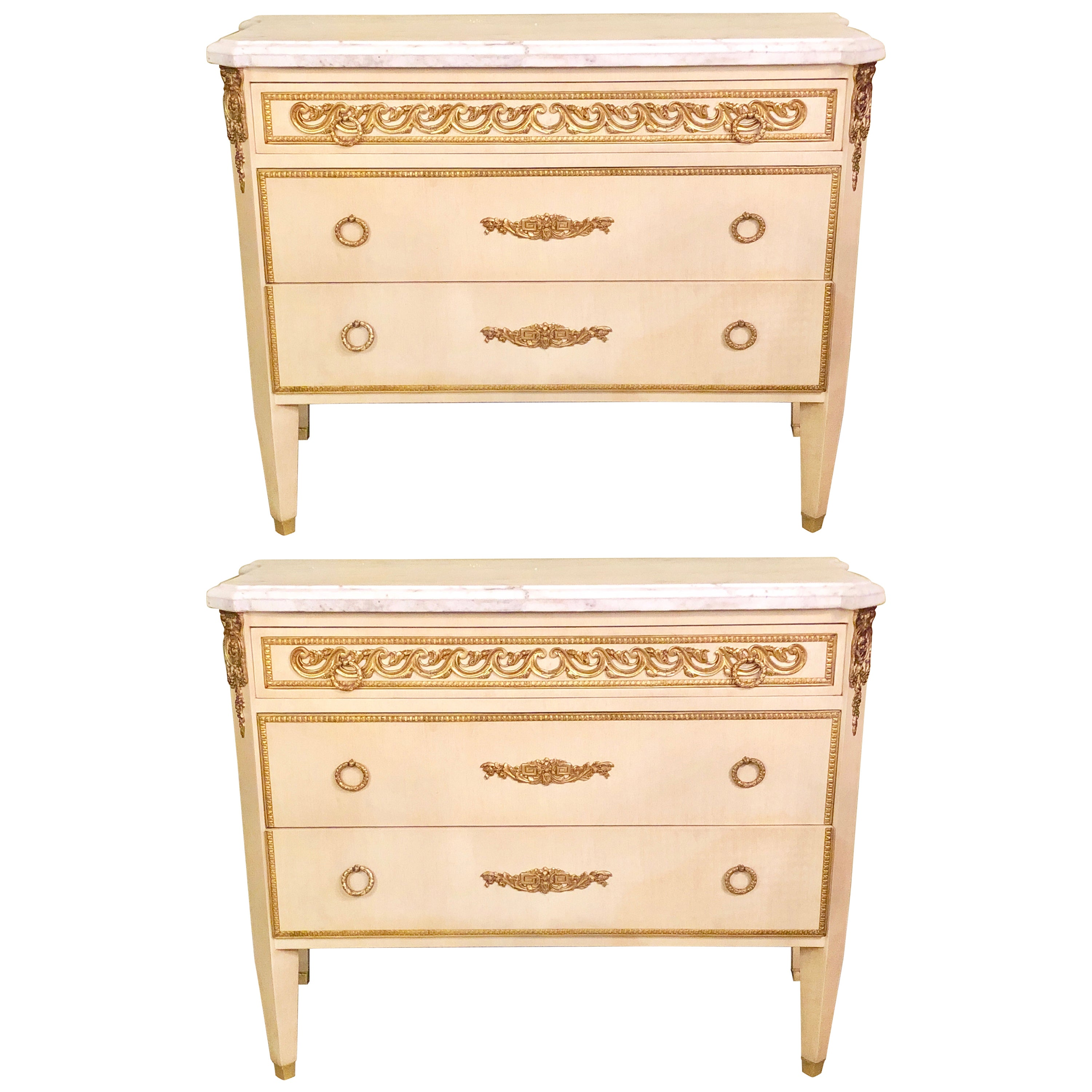 Hollywood Regency Maison Jansen Style Commodes or Nightstands a Pair