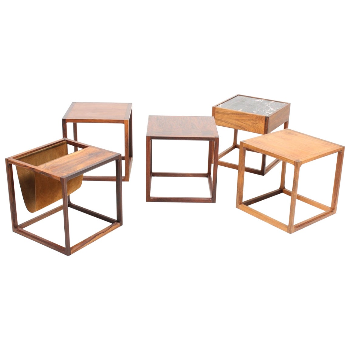 Set of Five Cube Side Tables in Rosewood Designed by Aksel Kjærsgaard, 1960s