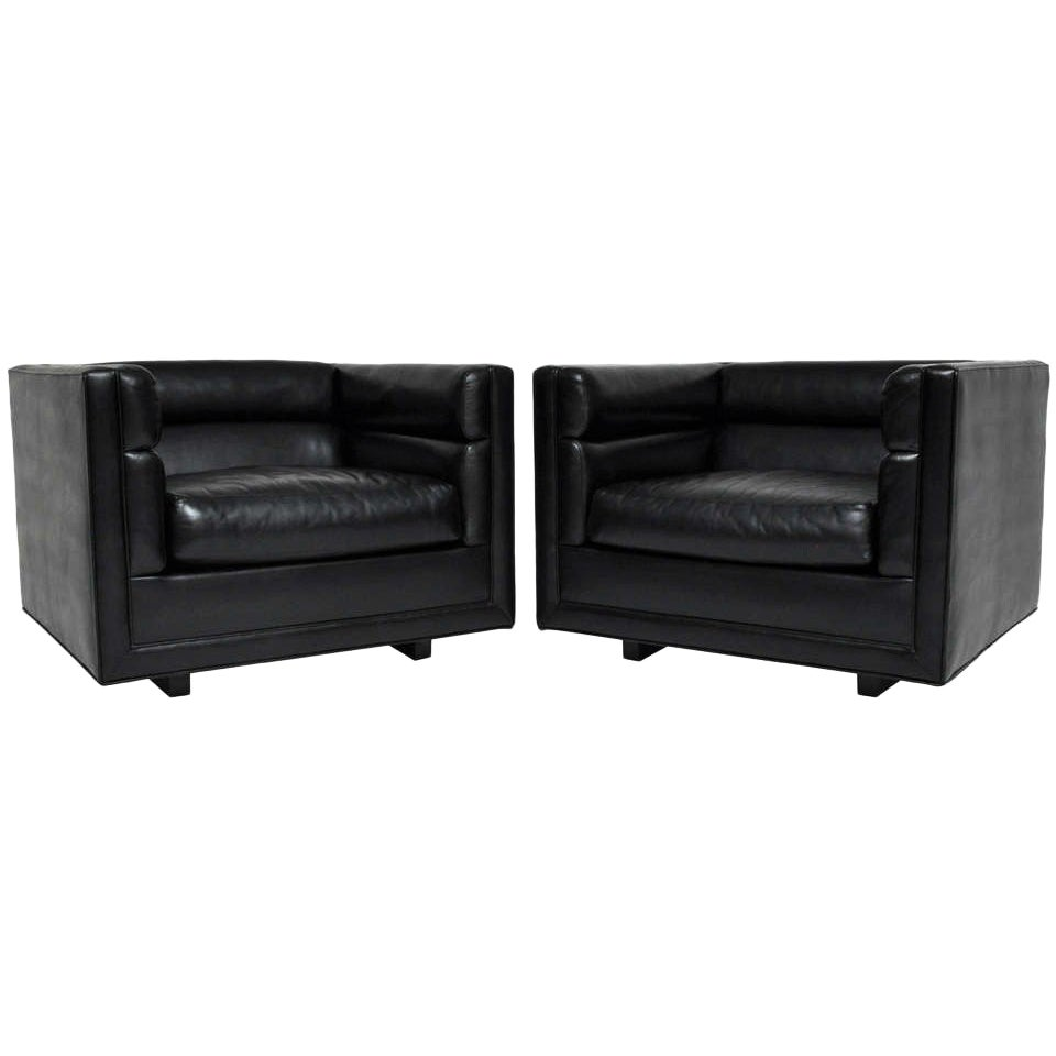"""Pair of Black """"Channel"""" Chairs Designed by Roger Sprunger for Dunbar"""