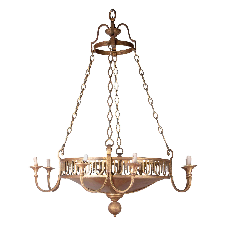 1990s Iron Golden Iron Spanish Lamp