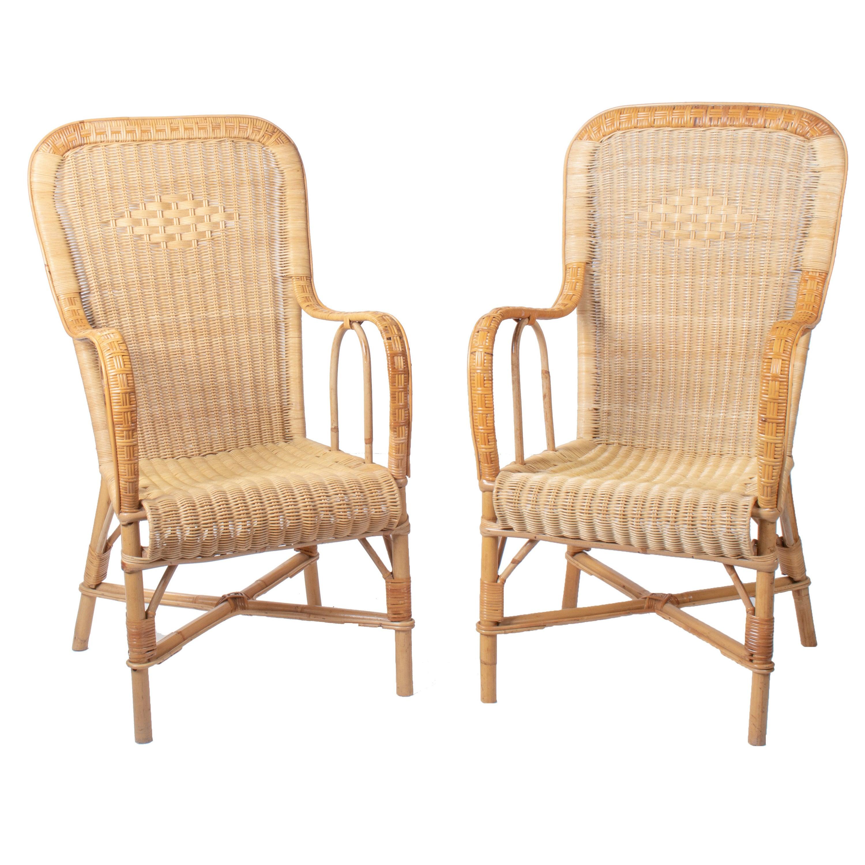 1970s Pair of Spanish Wicker and Bamboo Handmade Armchairs