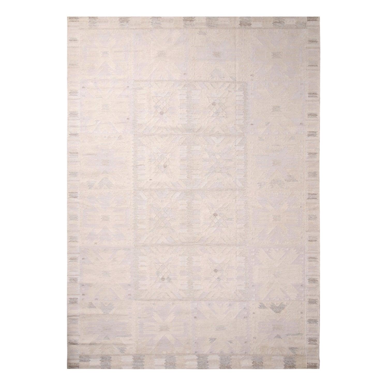 Rug & Kilim's Scandinavian-Inspired Cream Gray & Lavender Wool Pile Rug