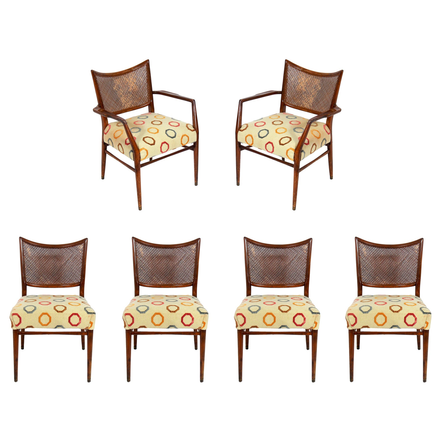 Six Caned Back Dining Chairs