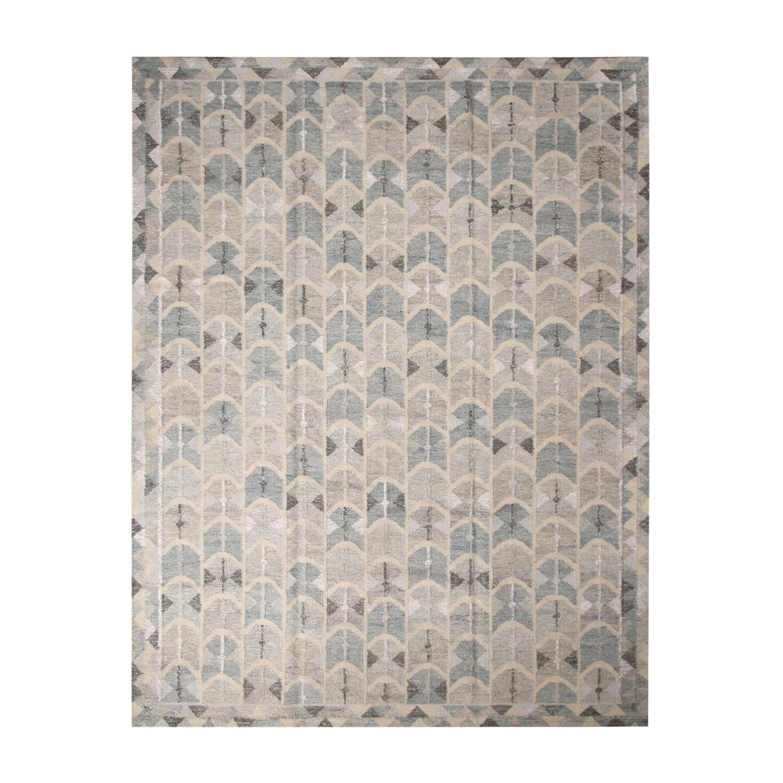 Rug & Kilim's Scandinavian-Inspired Geometric Gray and Blue Wool Kilim Rug