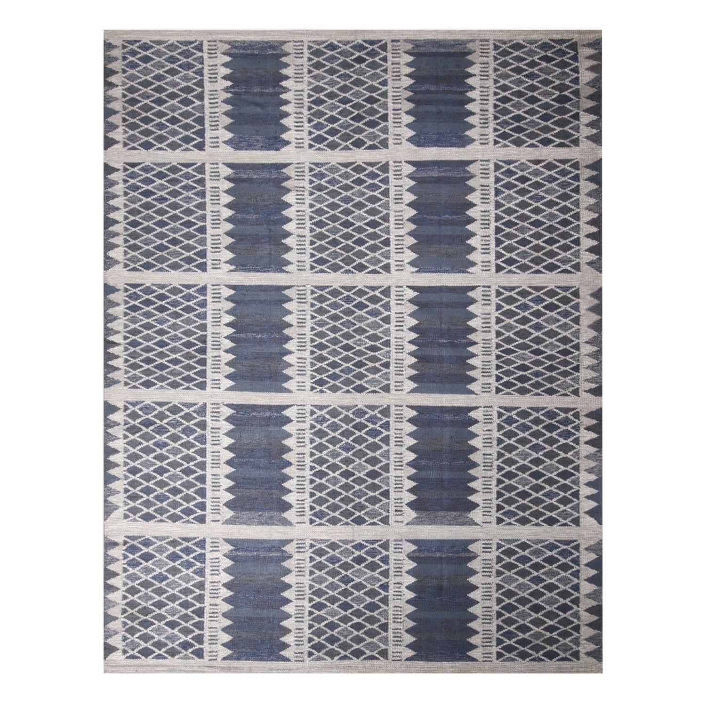 Rug & Kilim's Scandinavian-Inspired Navy Blue and Gray Wool Rug