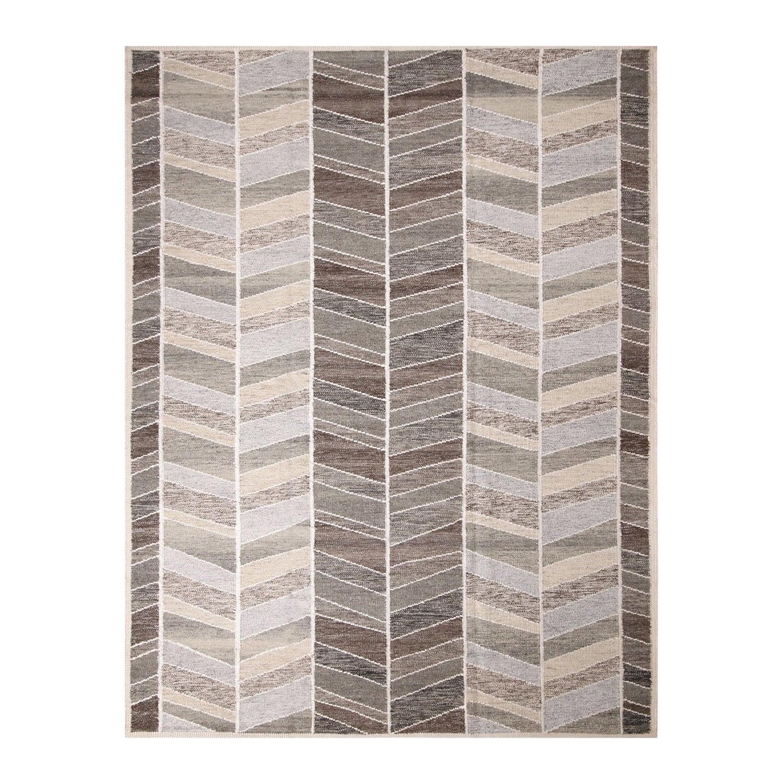 Rug & Kilim's Scandinavian Inspired Brown and Gray Wool Pile Rug