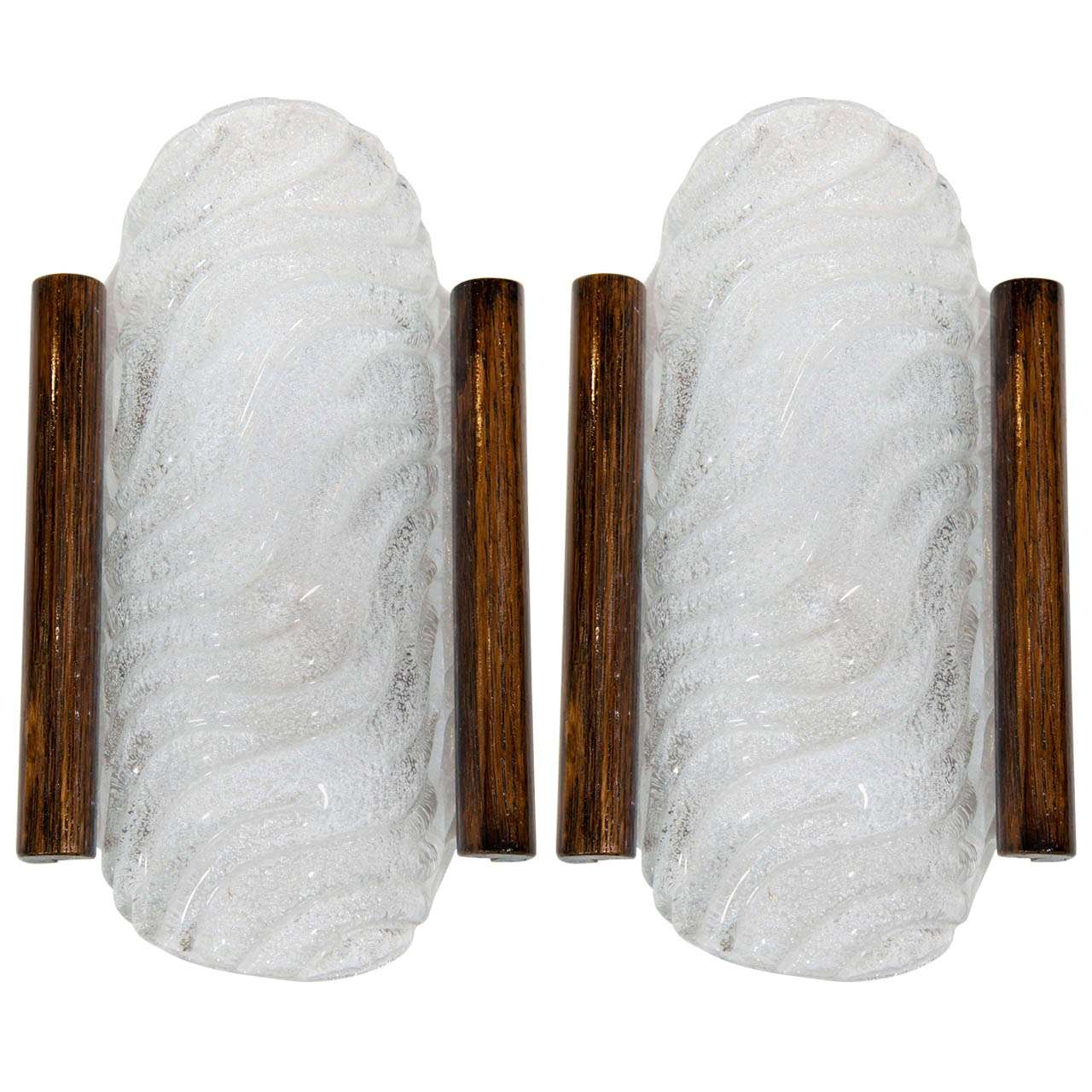 Barovier and Toso Murano Glass Sconces with Wood Detail, 1950s