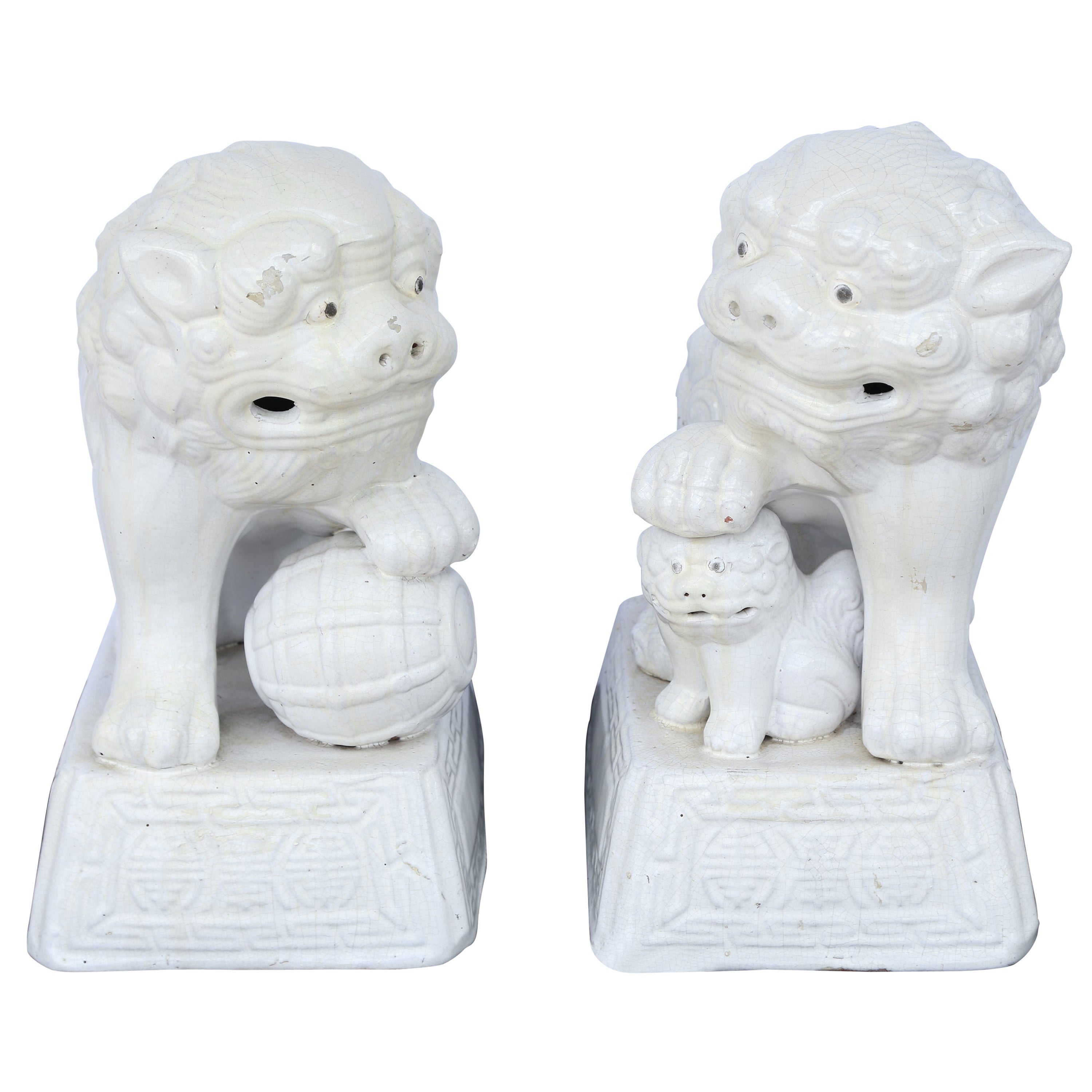 Pair of Large Blanc de Chine Foo Dogs