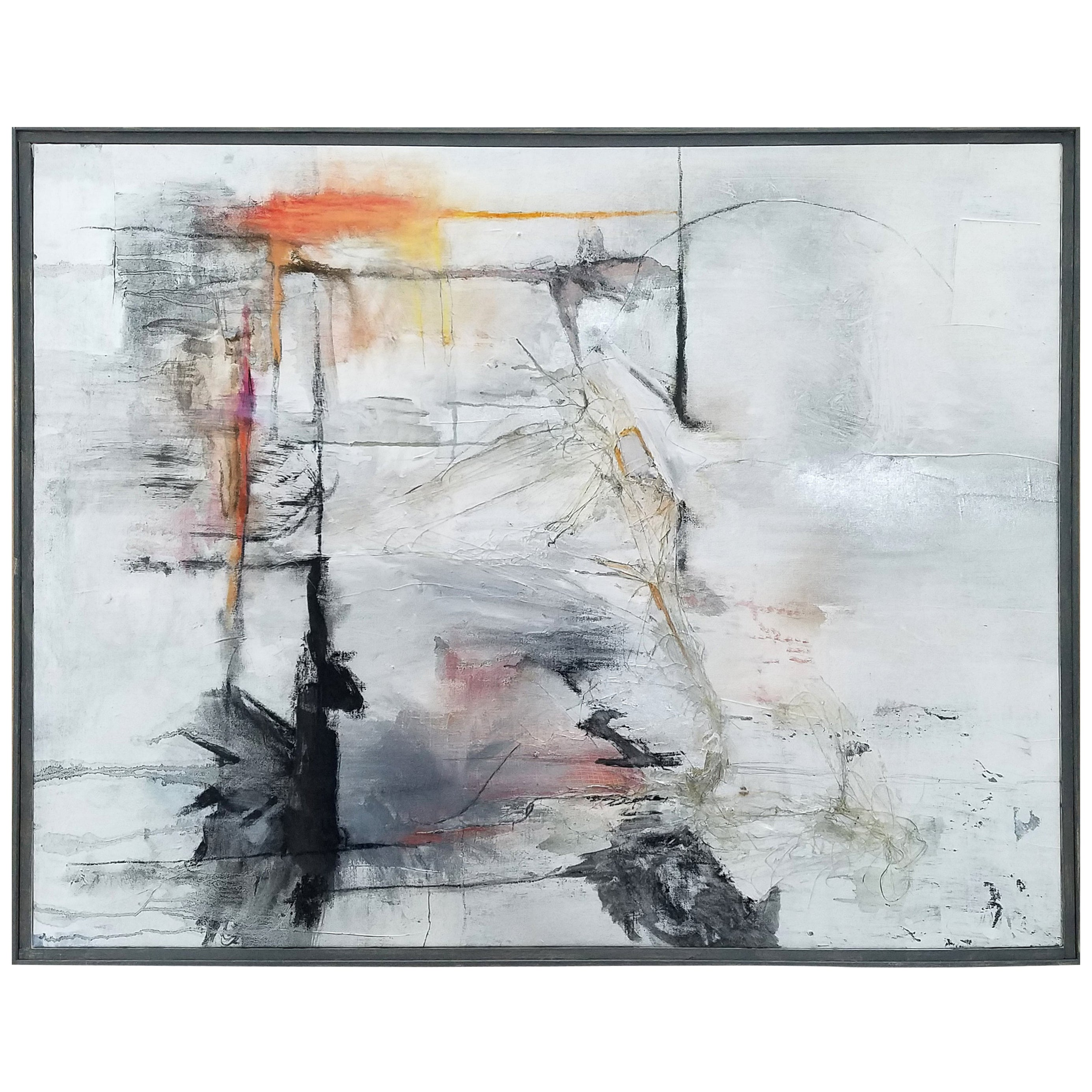 """""""Reflections,"""" Black, White and Gray Abstract Painting by Kathi Robinson Frank"""