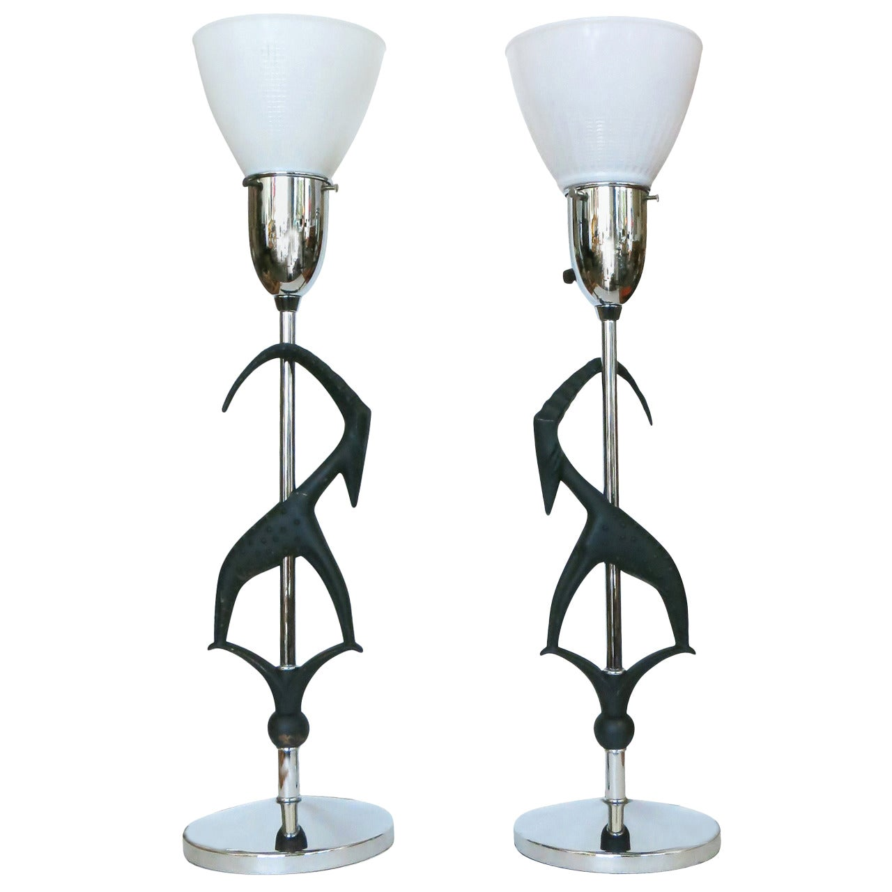 Midcentury Gazelle Table Lamps, Pair by Rembrandt