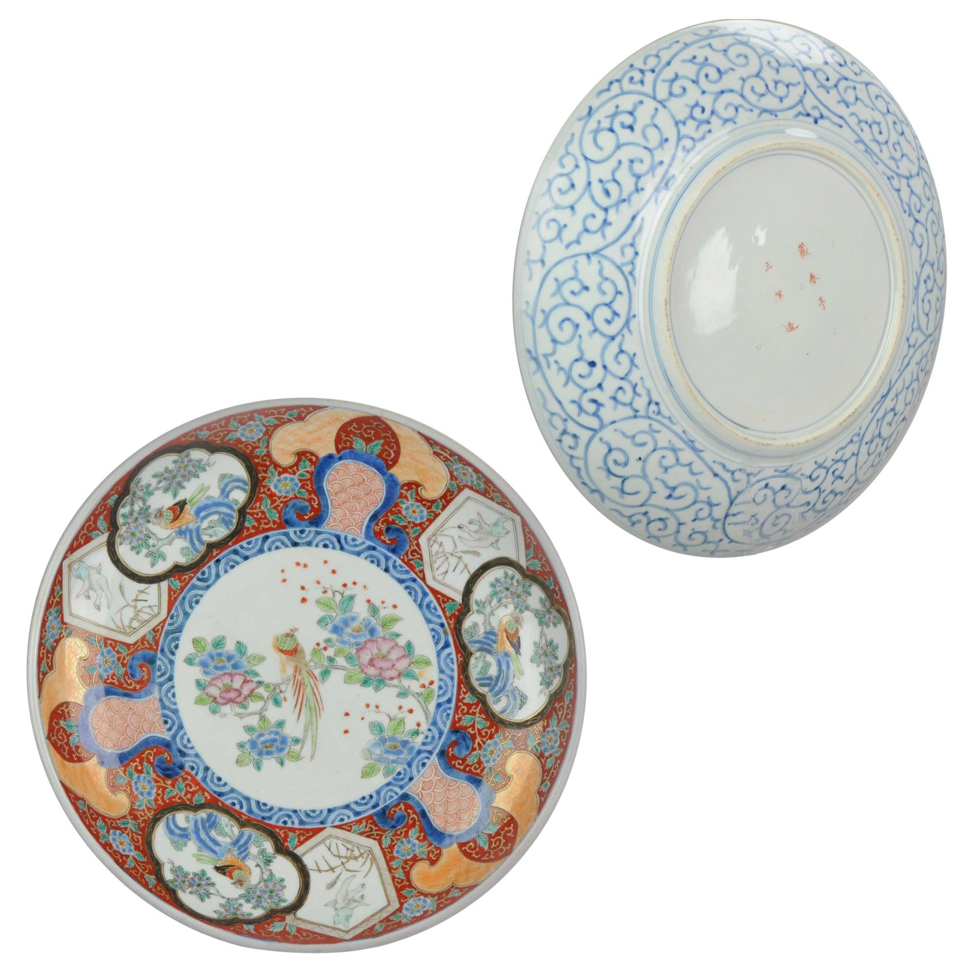 Japanese Porcelain Meiji Taisho Charger Marked Antique Japan Blue Arita