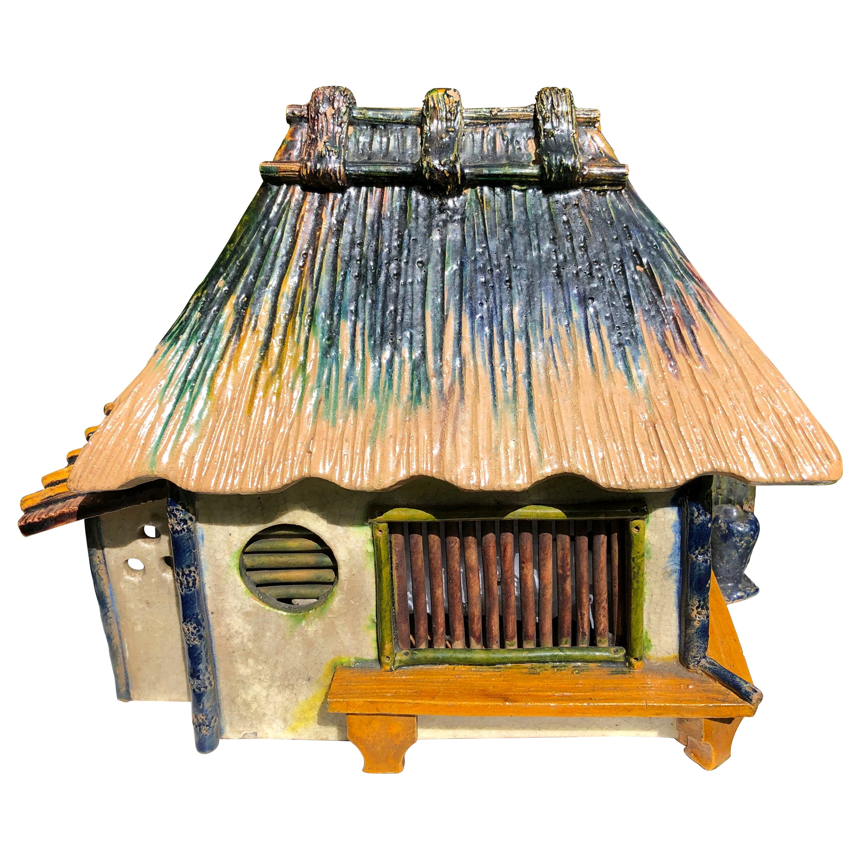 """Japanese Superb """"Mountain House"""" Treasure Box Hand Painted Colors, 1920s-1930s"""