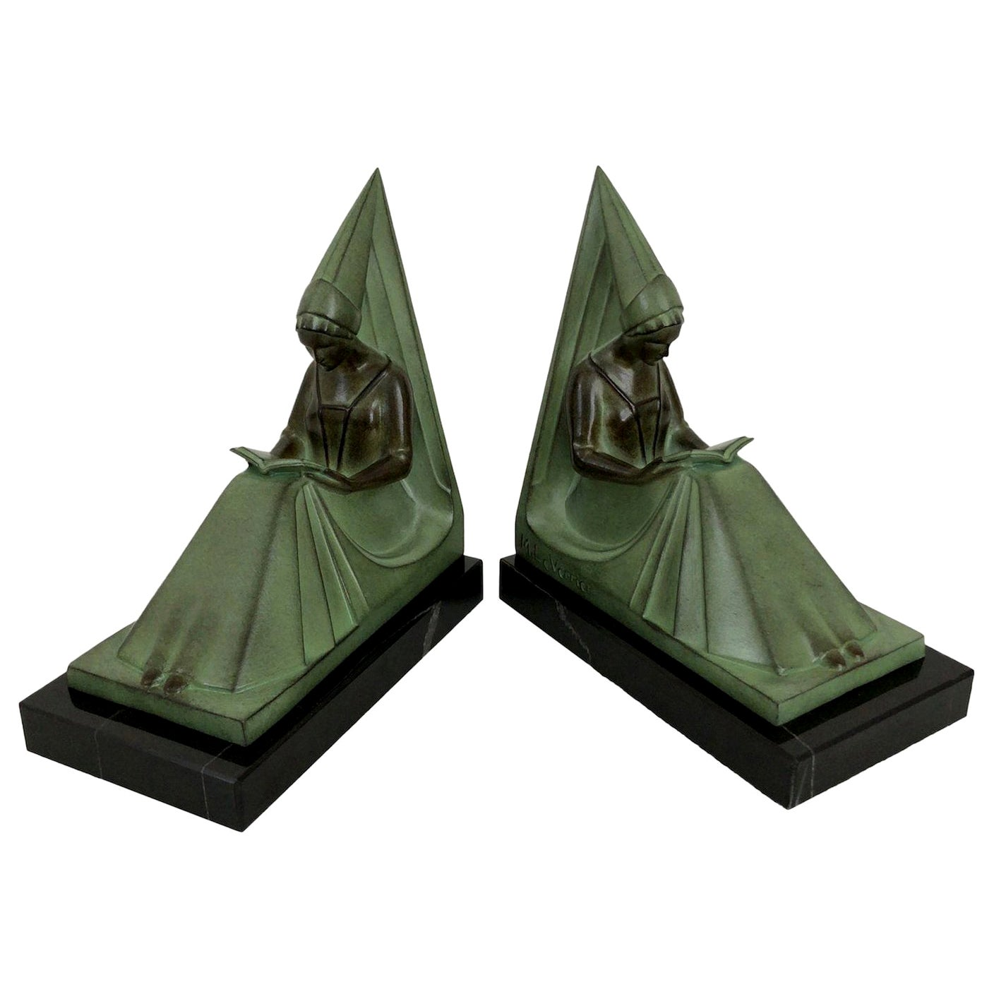 Moyen Age Original Max Le Verrier Art Deco Style Bookends
