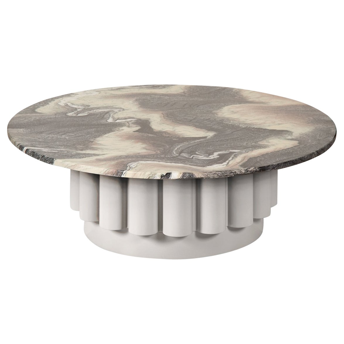 Round Ravine Marble-Top Coffee Table with Fluted Base