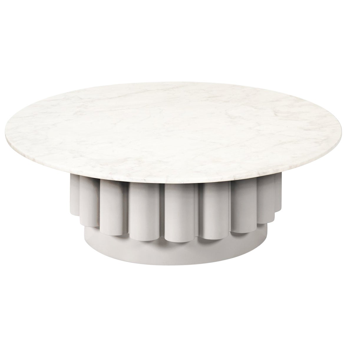 Round White Carrara Marble-Top Coffee Table with Fluted Base