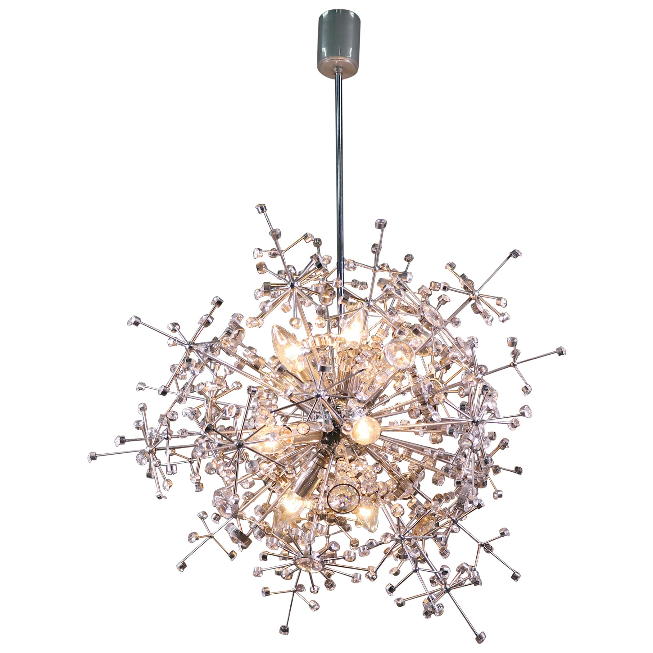 1960 Germany Palwa Sputnik Chandelier Swarovski Crystal & Nickel