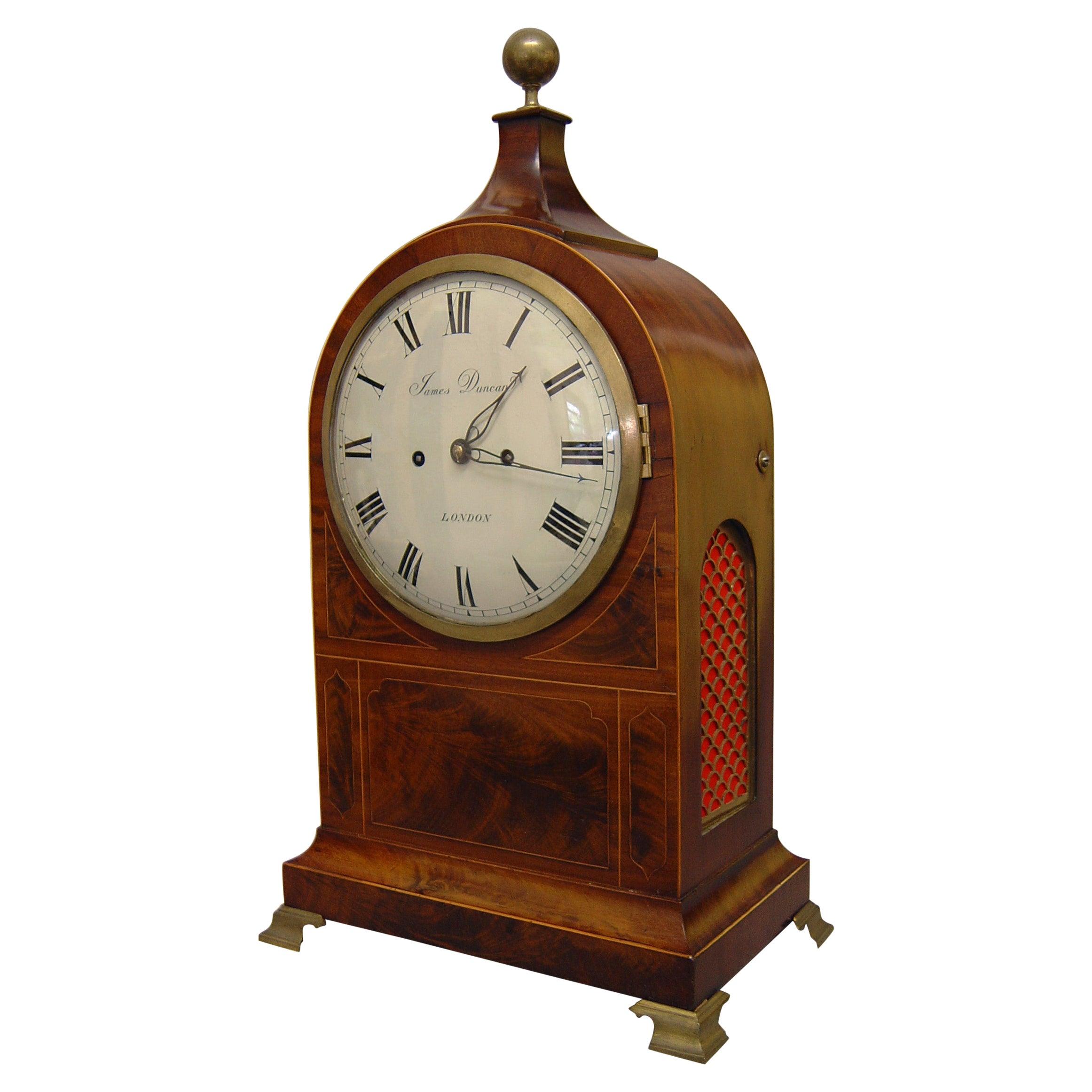 English Flame Mahogany George III Bracket Clock by James Duncan, London