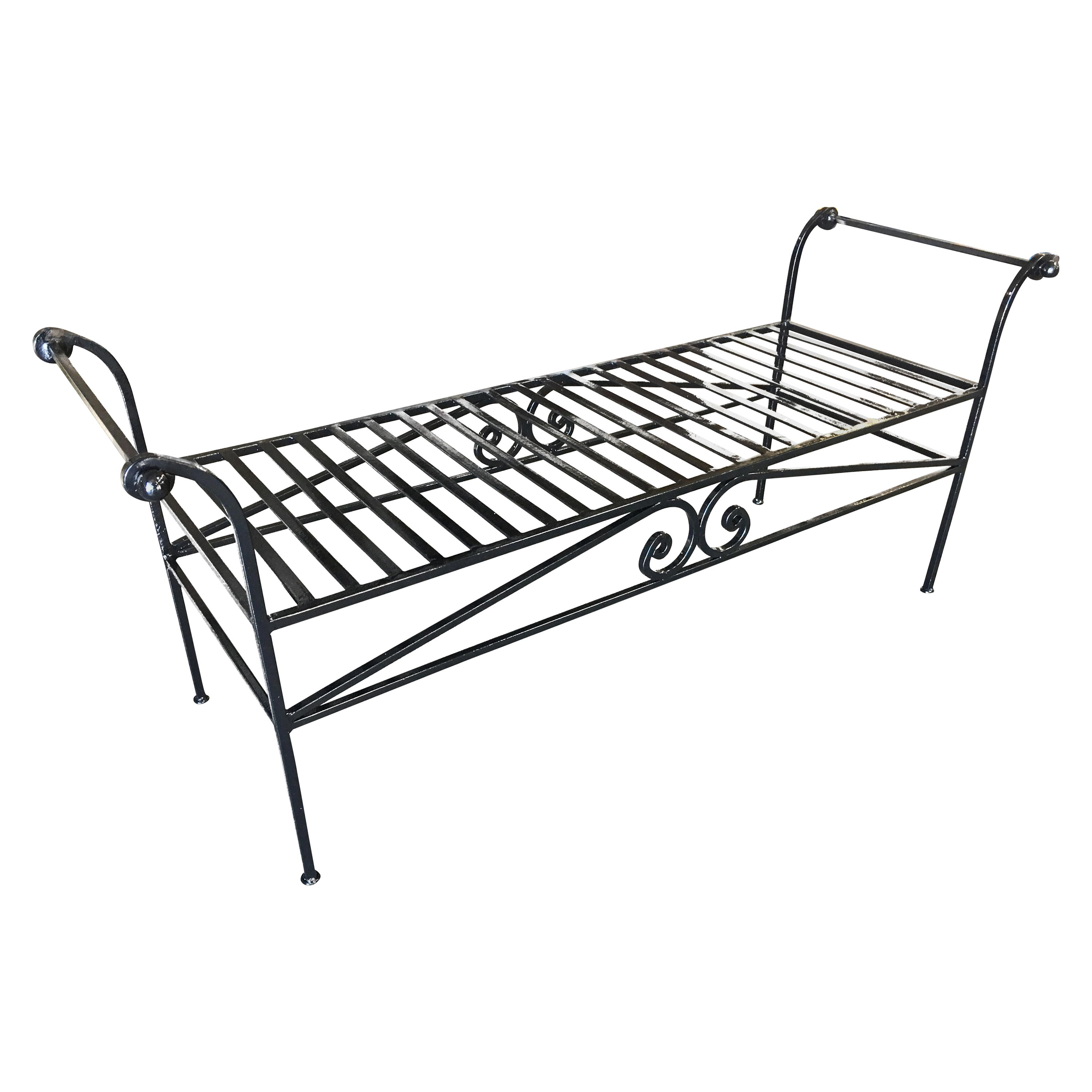 Scrolling Black Wrought Iron Chaise Lounge, Bench