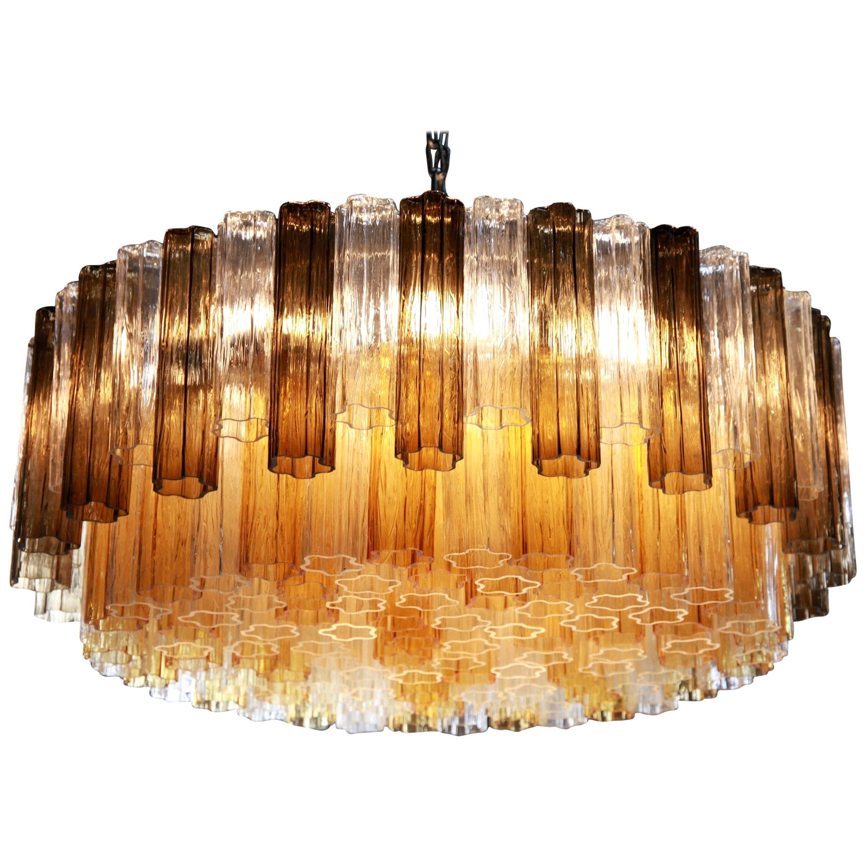 Two Tiers Murano Chandelier, Tronchi Elements in Clear and Amber and Gray Kalmar