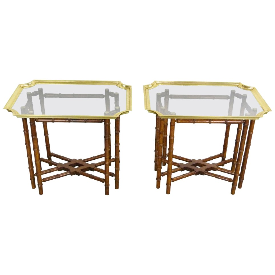 Vintage Baker Brass Glass Tray Bamboo Base Side/Tray Tables, Pair