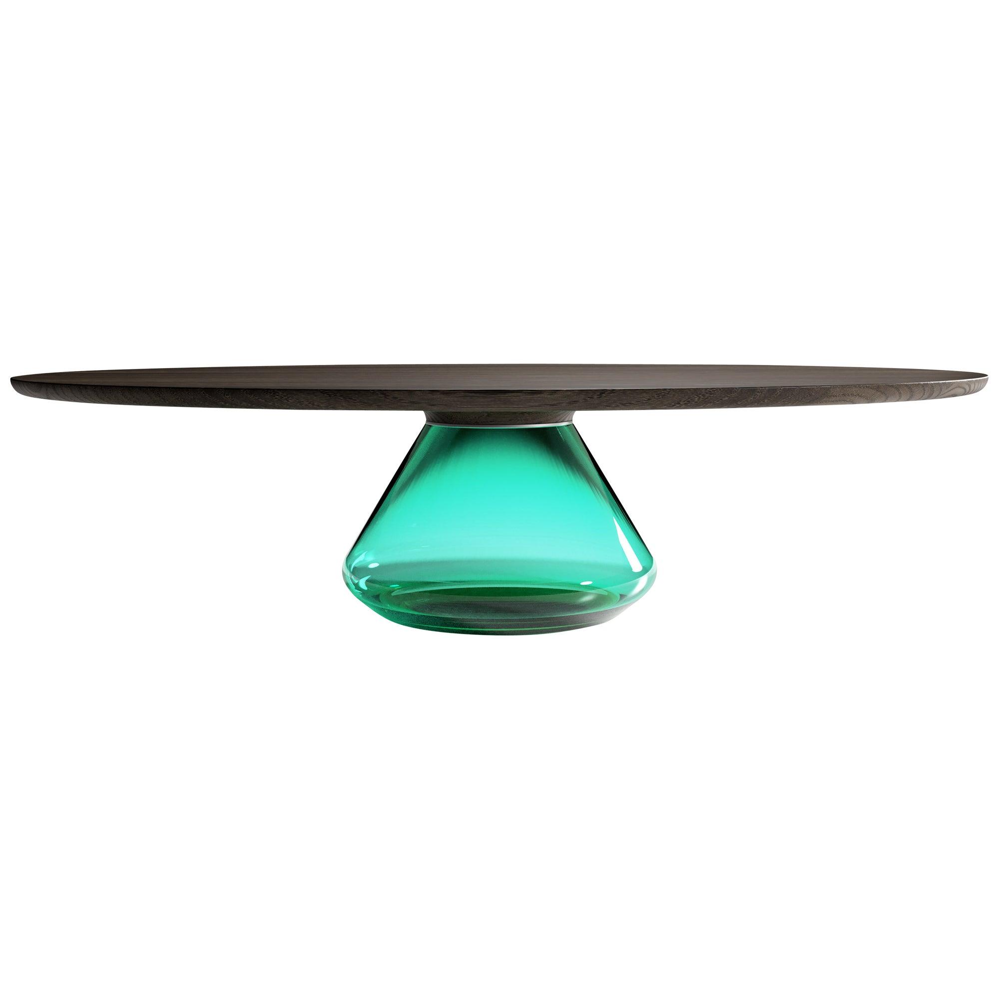 """""""Emerald Eclipse"""" Contemporary Coffee Table Glass and Dark Oak by Grzegorz Majka"""