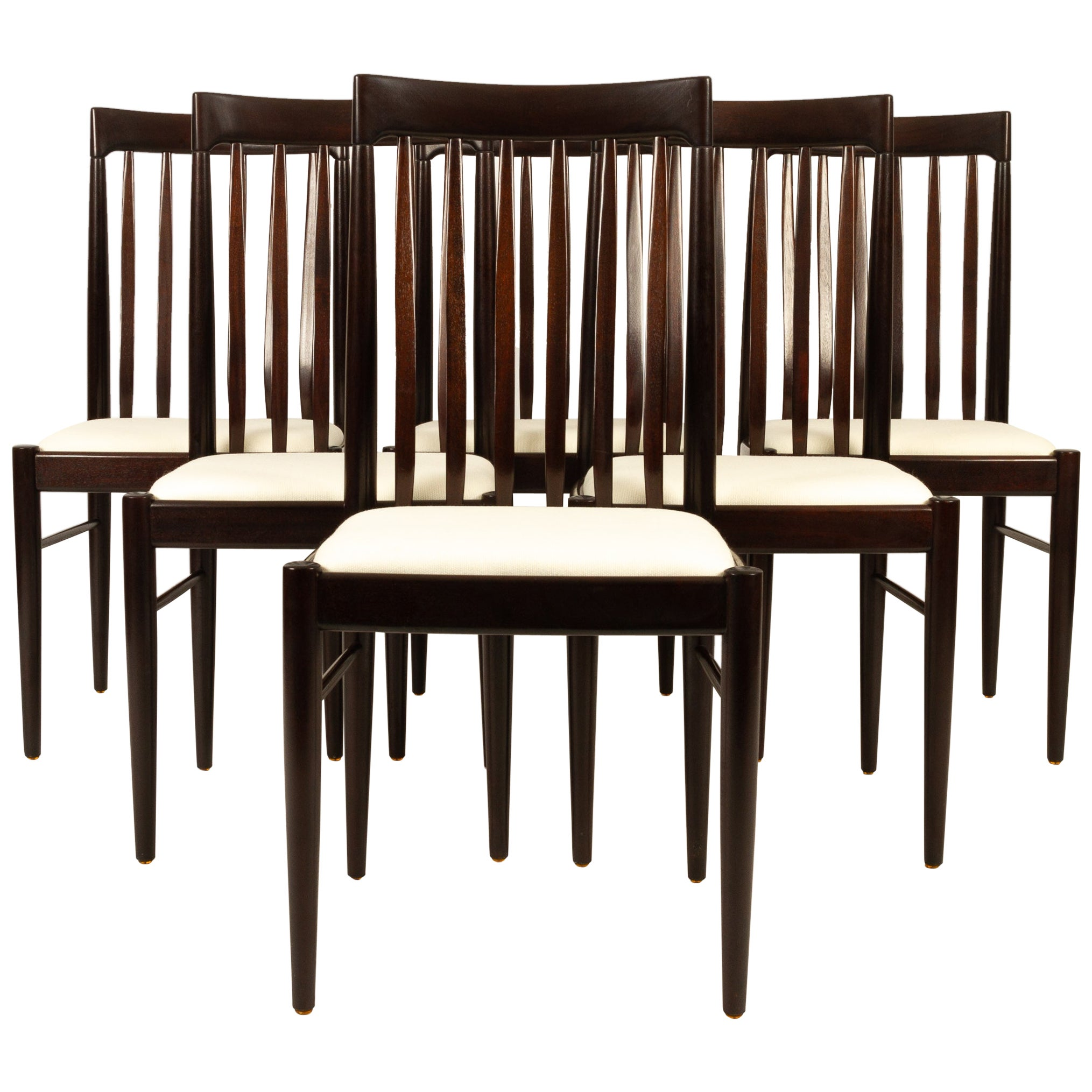 Danish Mahogany Dining Chairs by H. W. Klein for Bramin 1970s Set of 6