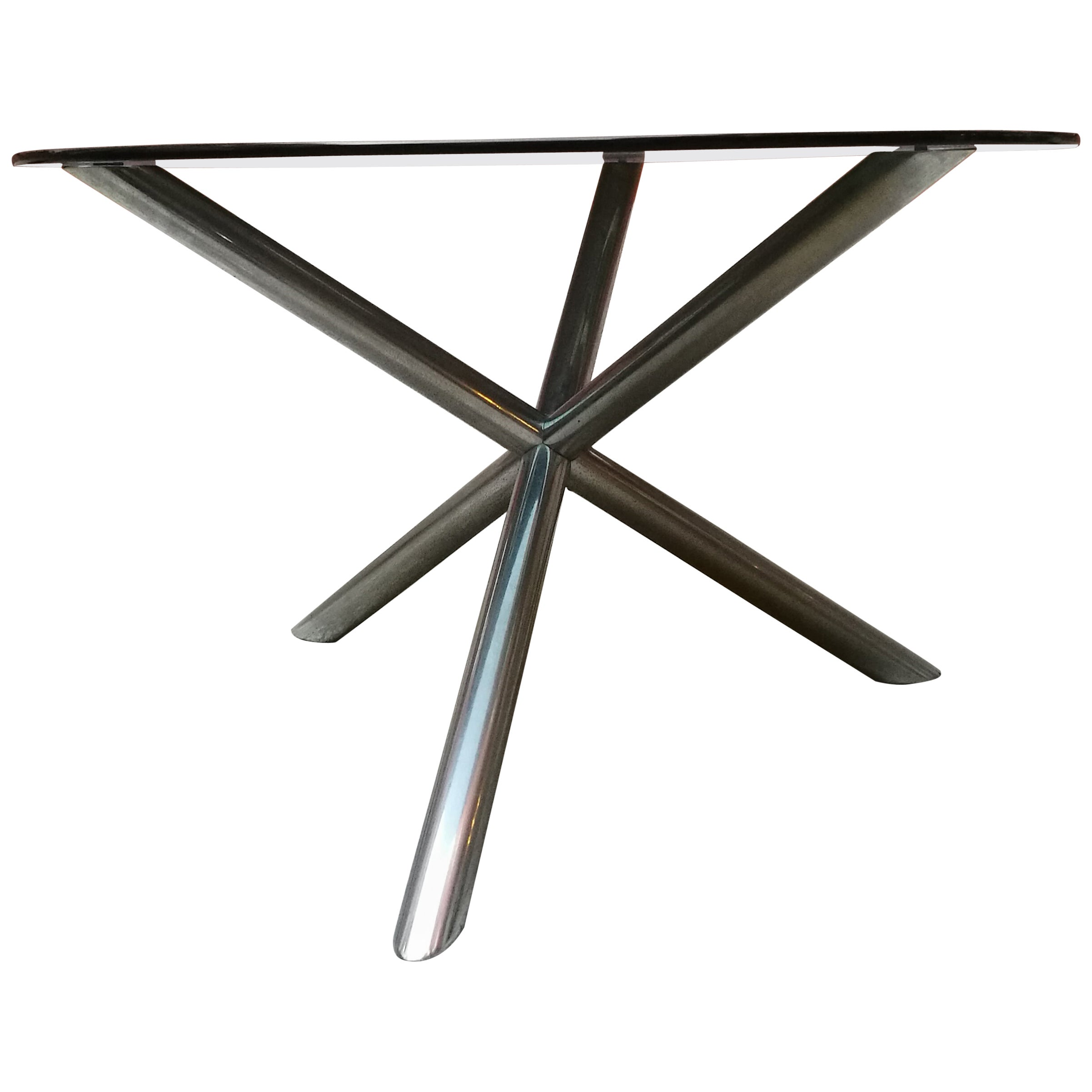 Italian Round Smoked Glass and Chromed Steel Dining Table, 1970s