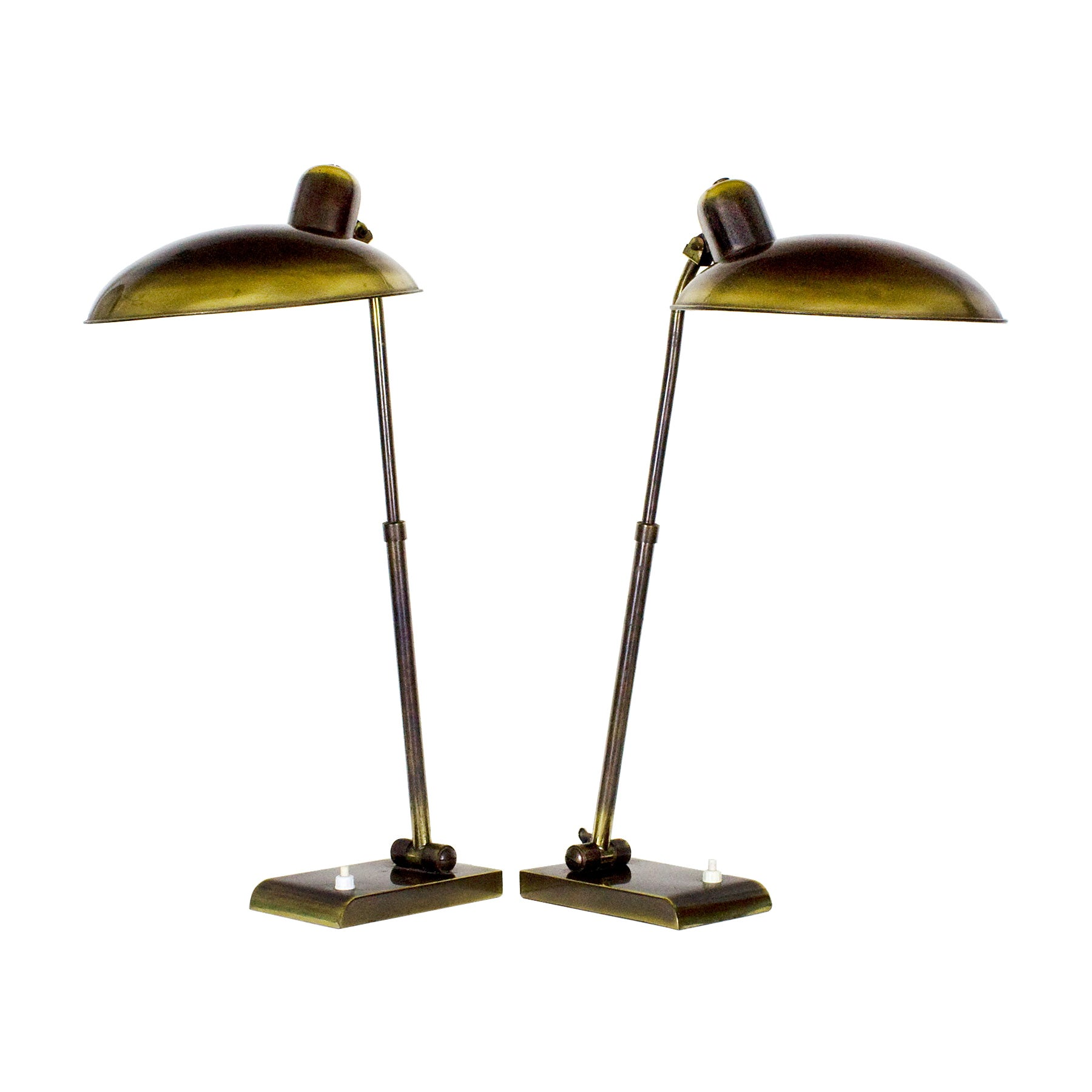 1950s Pair of Desk Lamps, Patinated Brass, Inclinations Systems, Italy