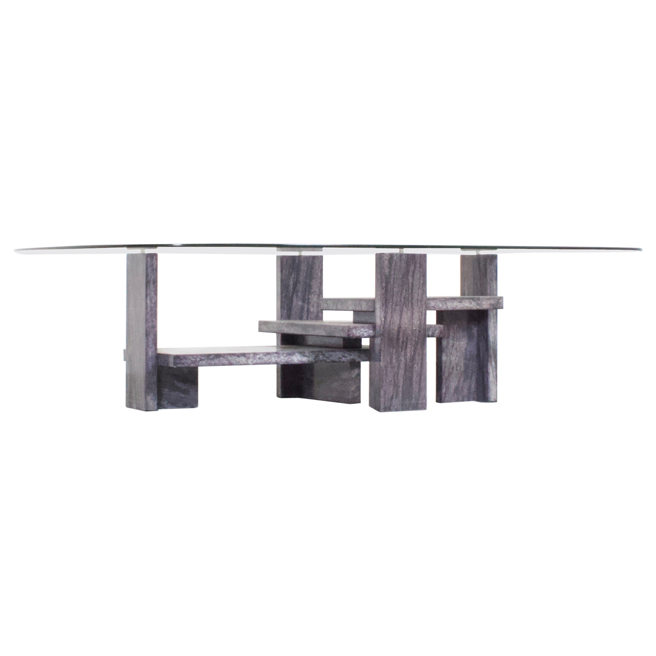 Willy Ballez Marble and Glass Coffee Table, 1970s Belgium