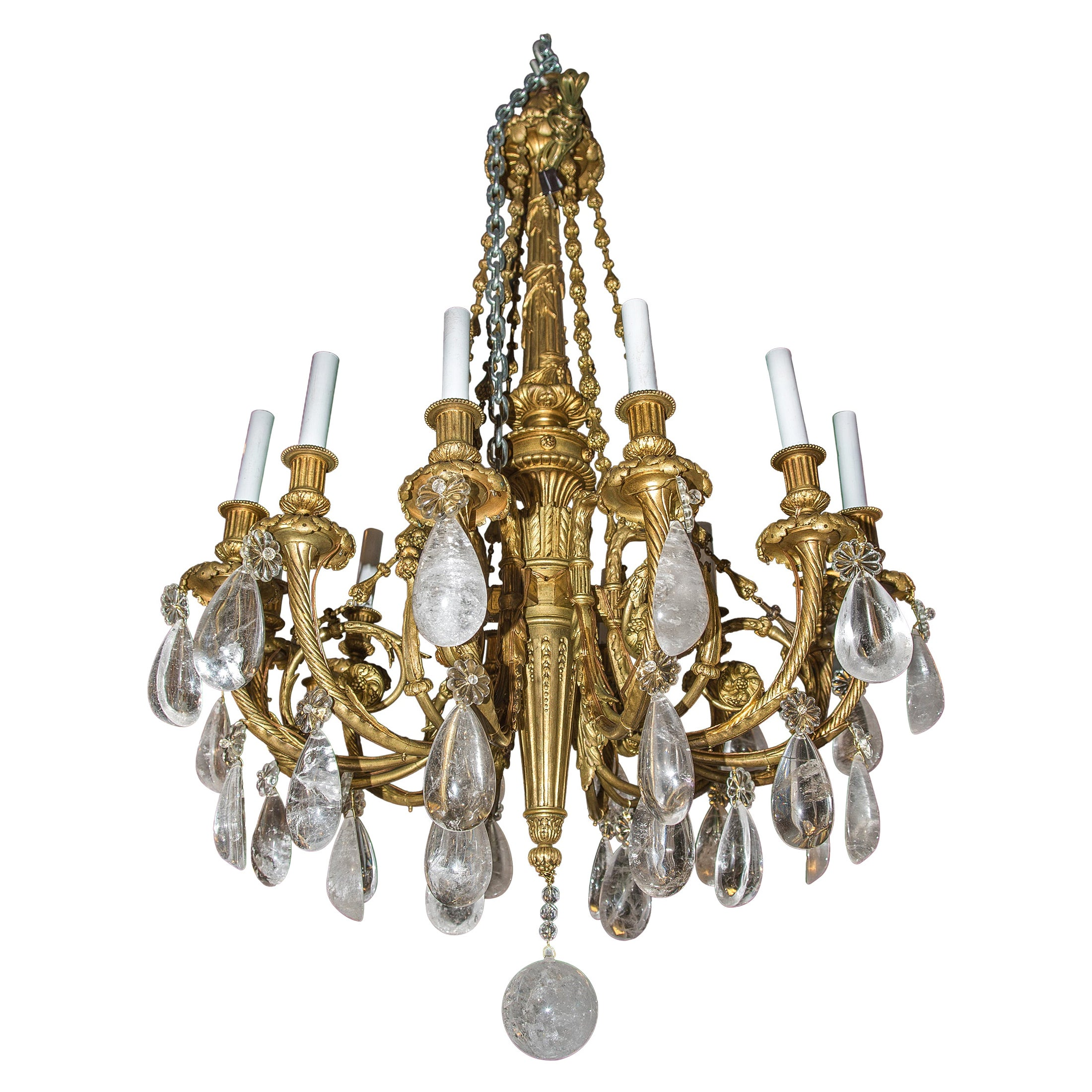 19th Century French Gilt Bronze and Rock Crystal Twelve-Light Chandelier