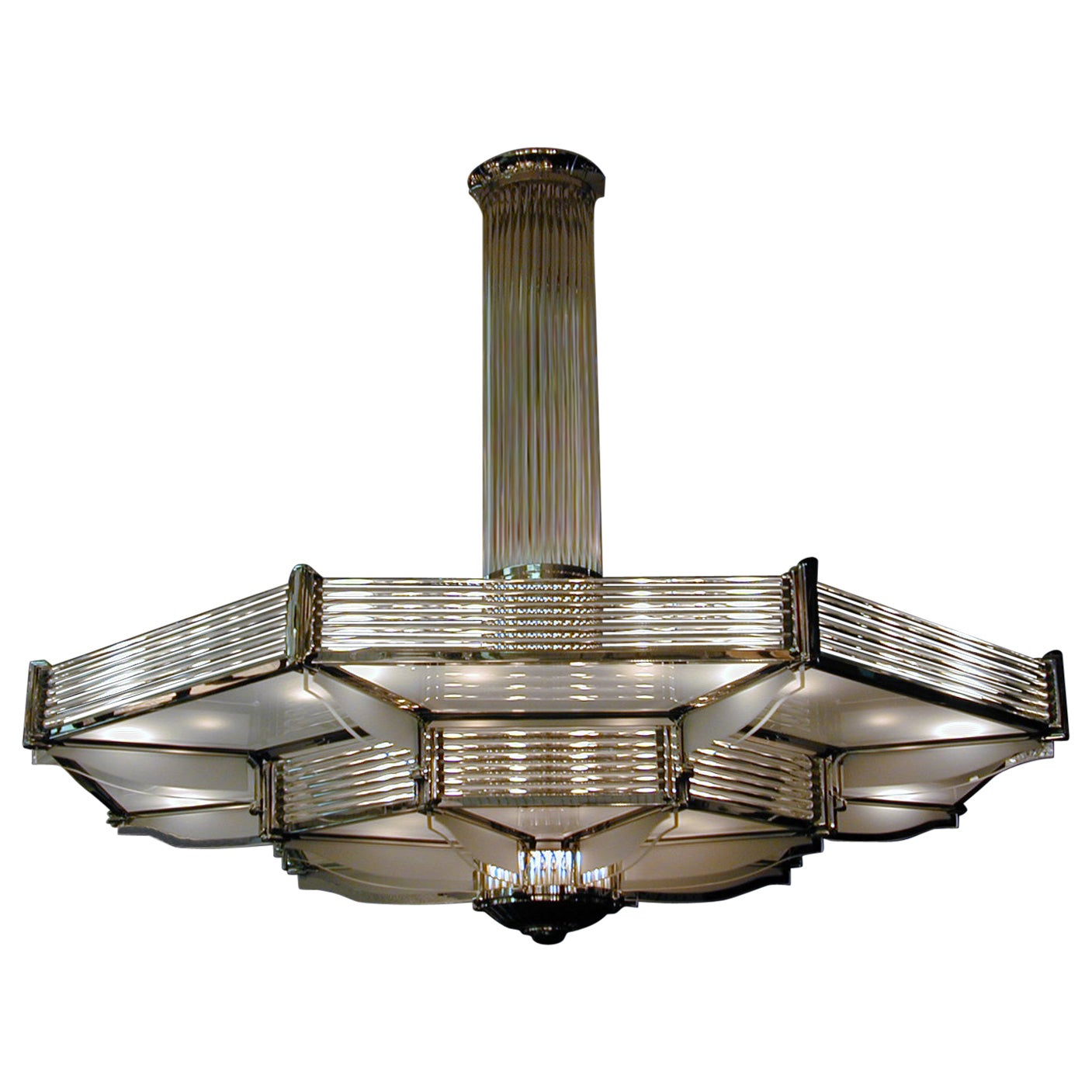 Important Palatial French Modernist Glass and Nickel Two-Tier Chandelier Petitot
