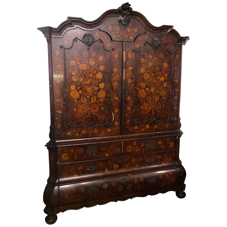 19th Century Charles X Walnut Inlay Wardrobes Armoires Cabinet, 1830