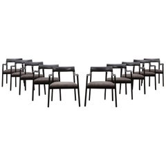 1940s Black Lacquered Wooden Set of Ten Edward Wormley Chairs, New Upholstery