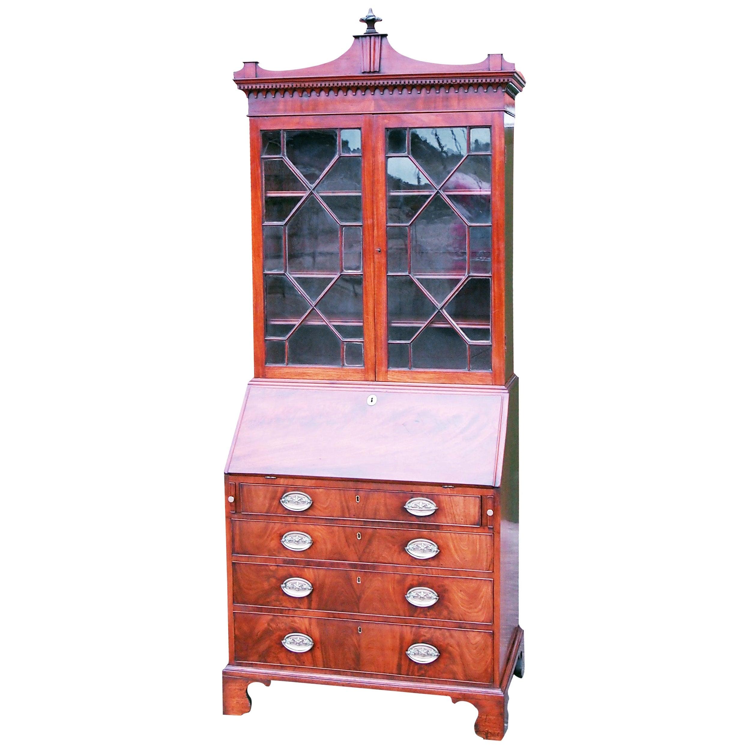 Georgian 18th Century Mahogany Bureau Bookcase Cabinet