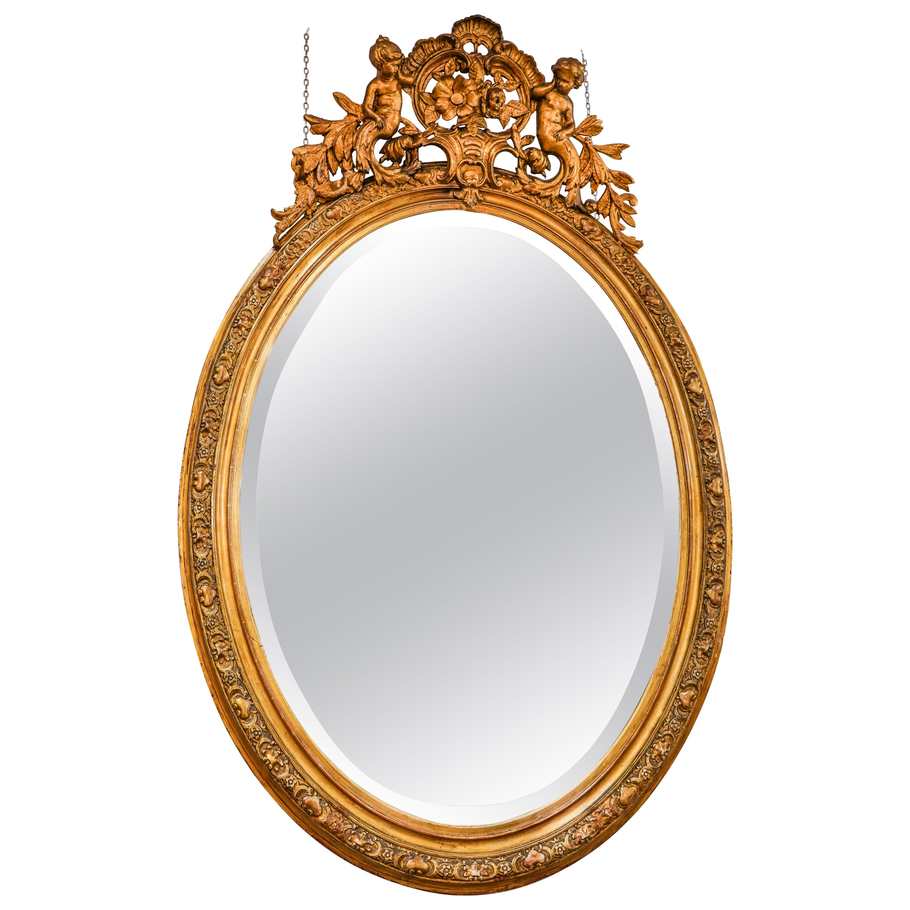 19th Napoleon III Mirror , Carved Gild French Oval Wall Mirror