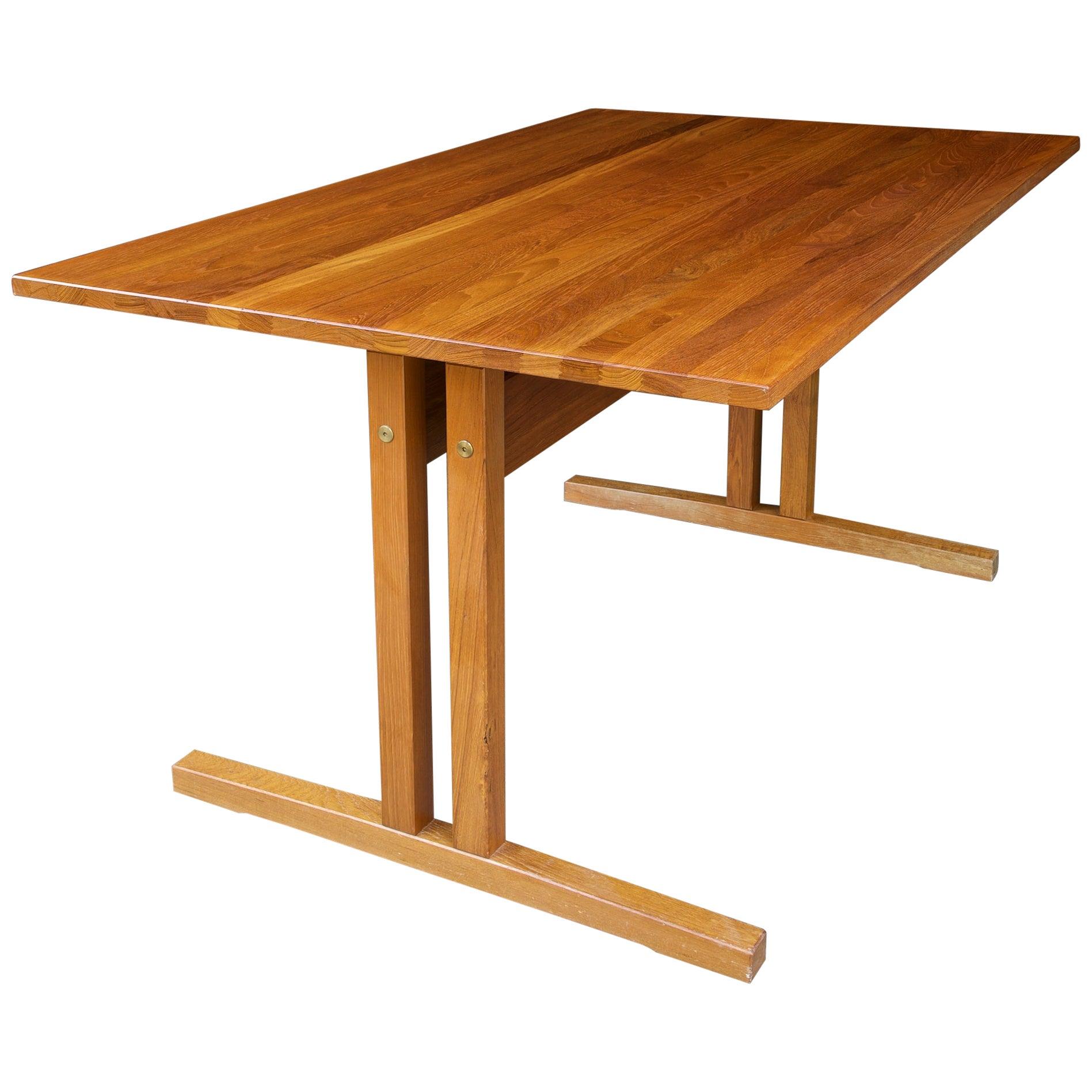 1960s Danish Solid Teak Shaker Desk Work Table Scandinavian Moller Perriand