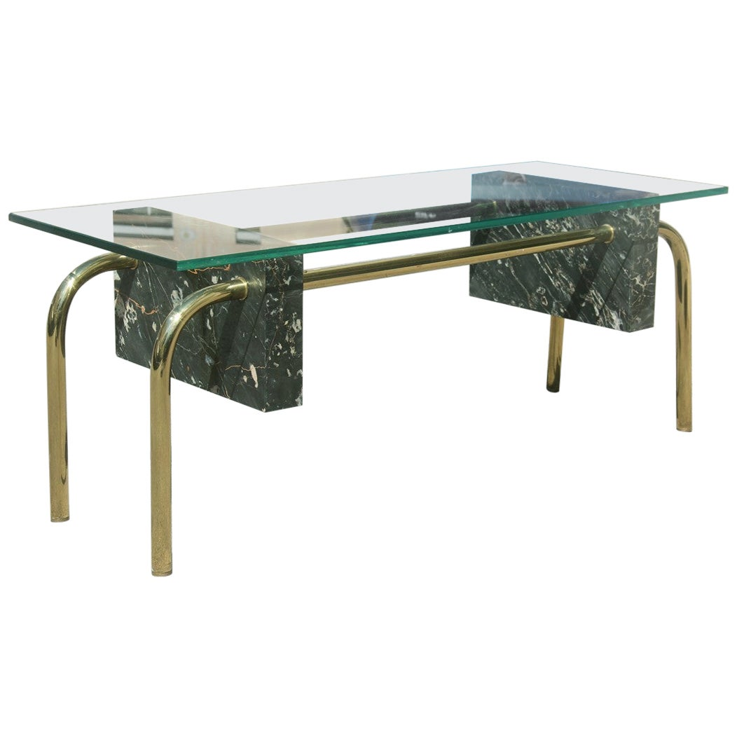 Rectangular Table Coffee Italian Design 1970s Brass Marble Portoro Glass Top