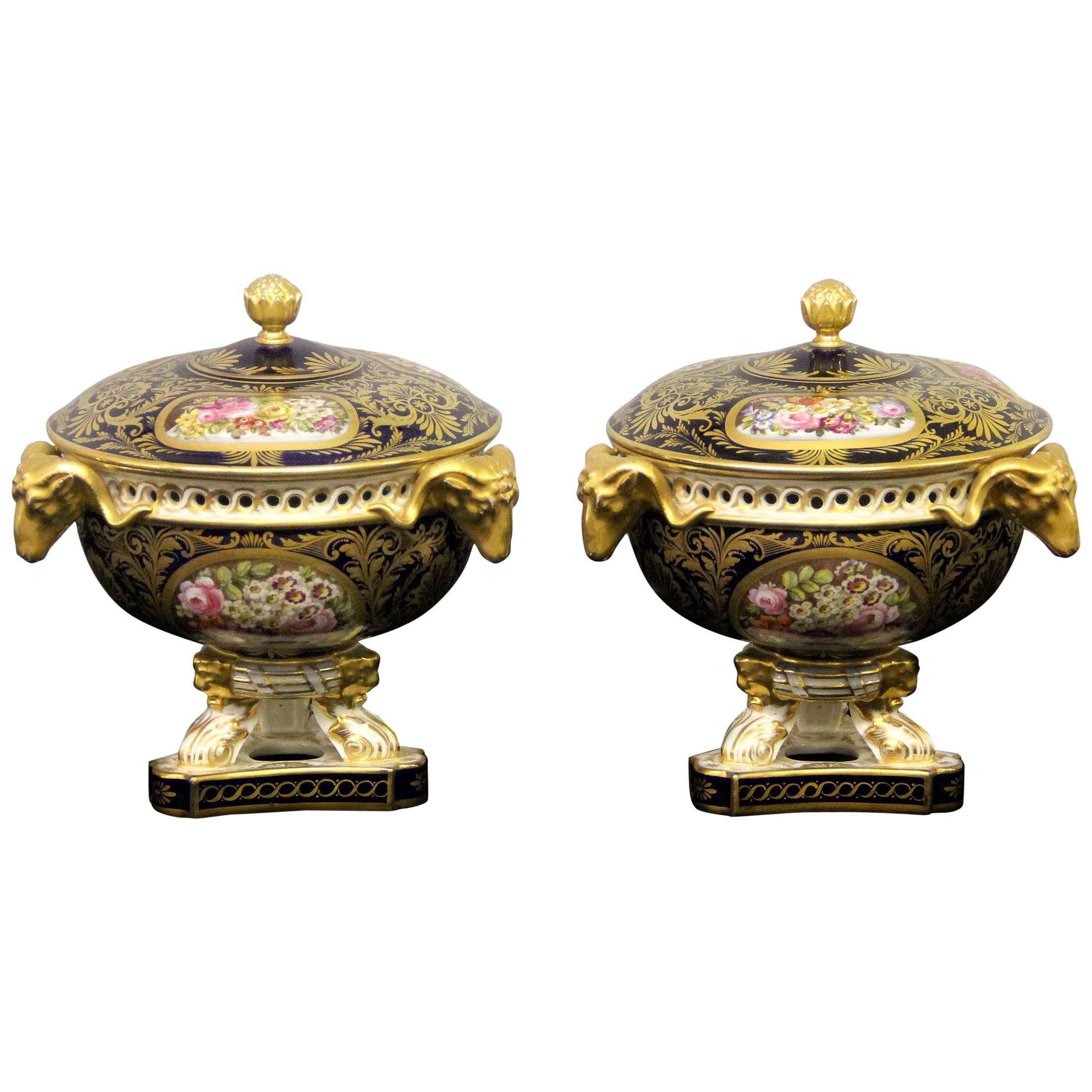 Beautiful Pair of Late 18th-Early 19th Century Crown Derby Porcelain Vases